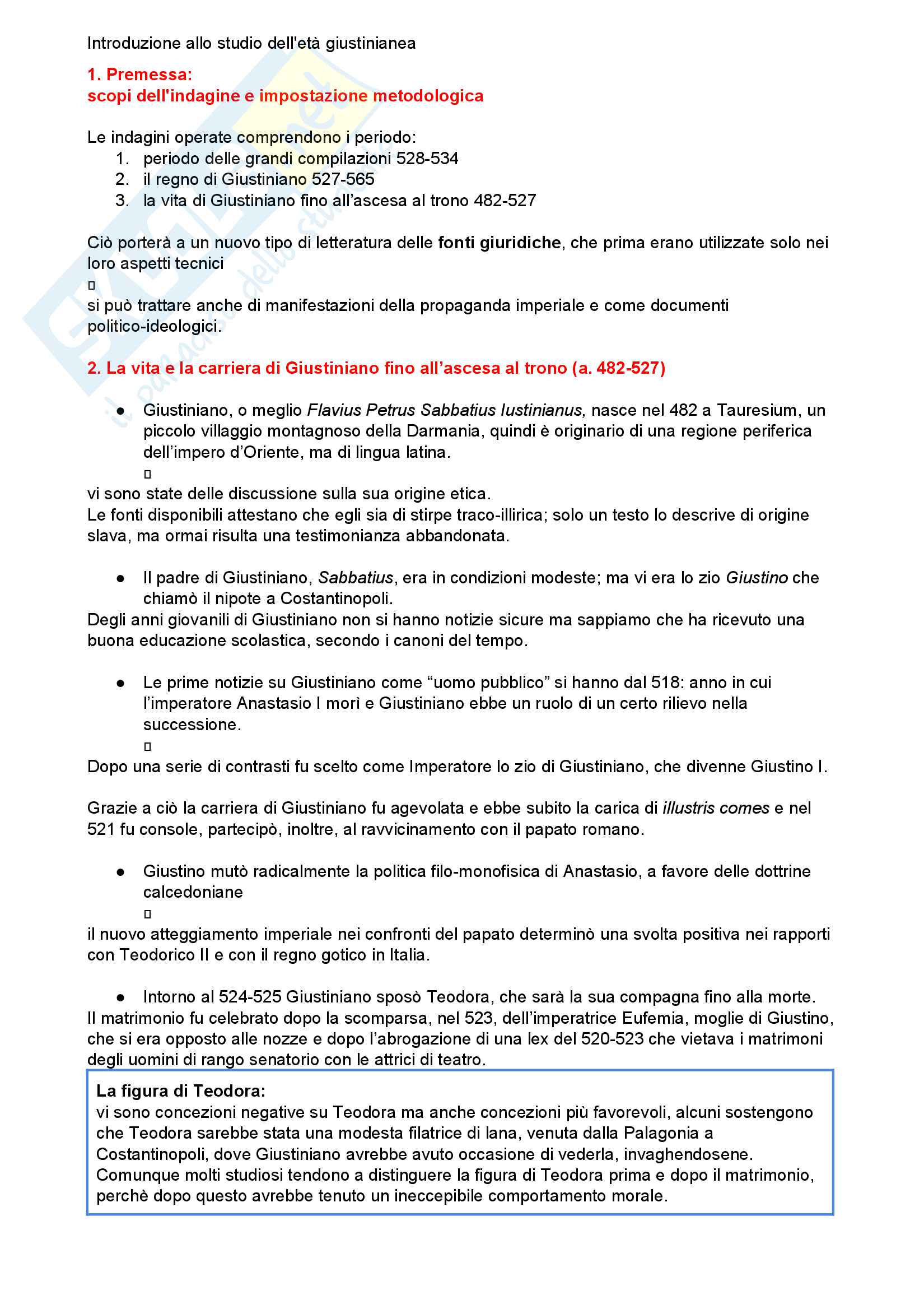 Riassunto esame storia del diritto romano, Prof. Luchetti, libro consigliato Introduzione allo studio dell'età giustinianea