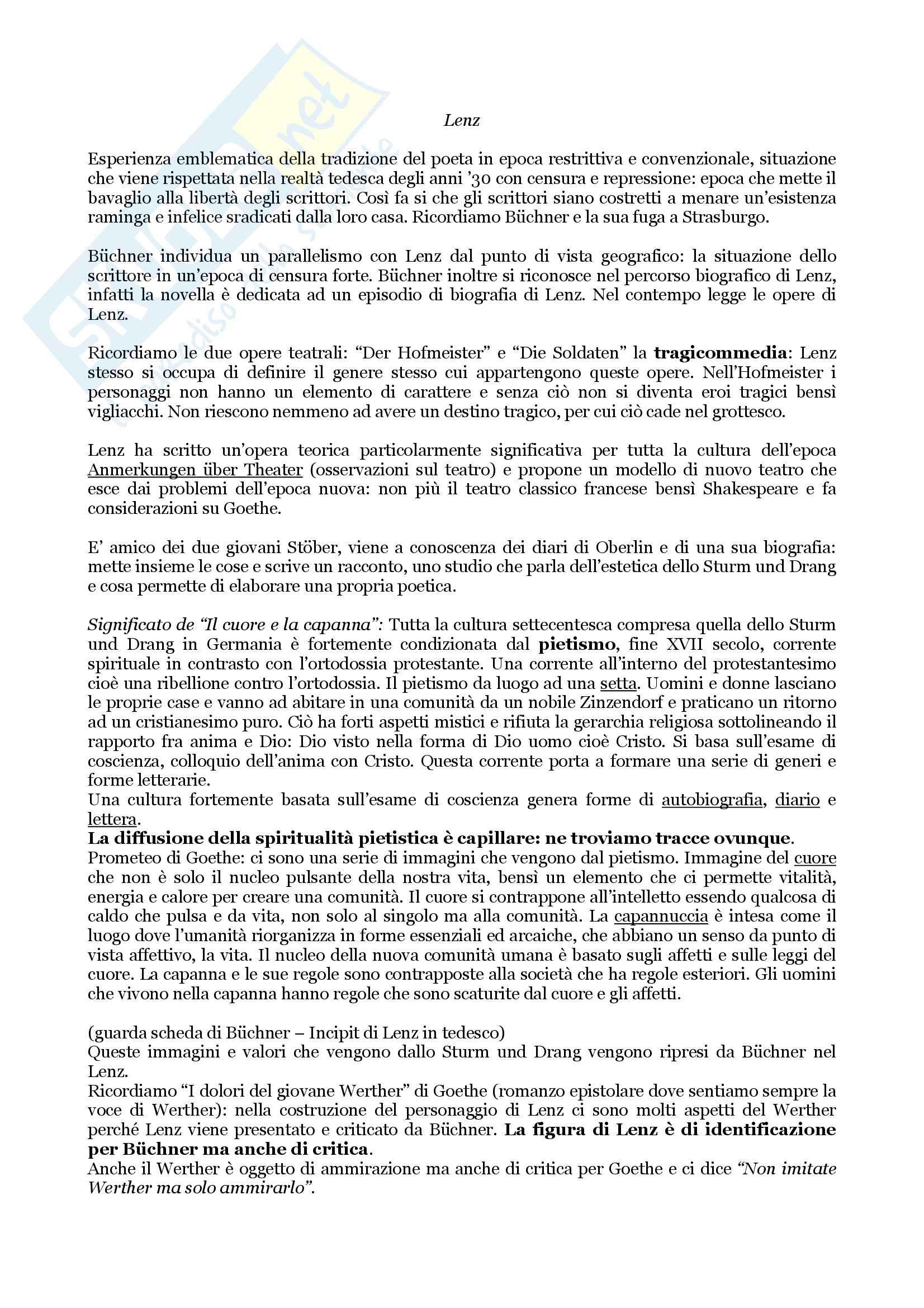 Riassunto esame Letteratura Tedesca, docente Giovanna Cermelli, libro Lenz di Georg Büchner