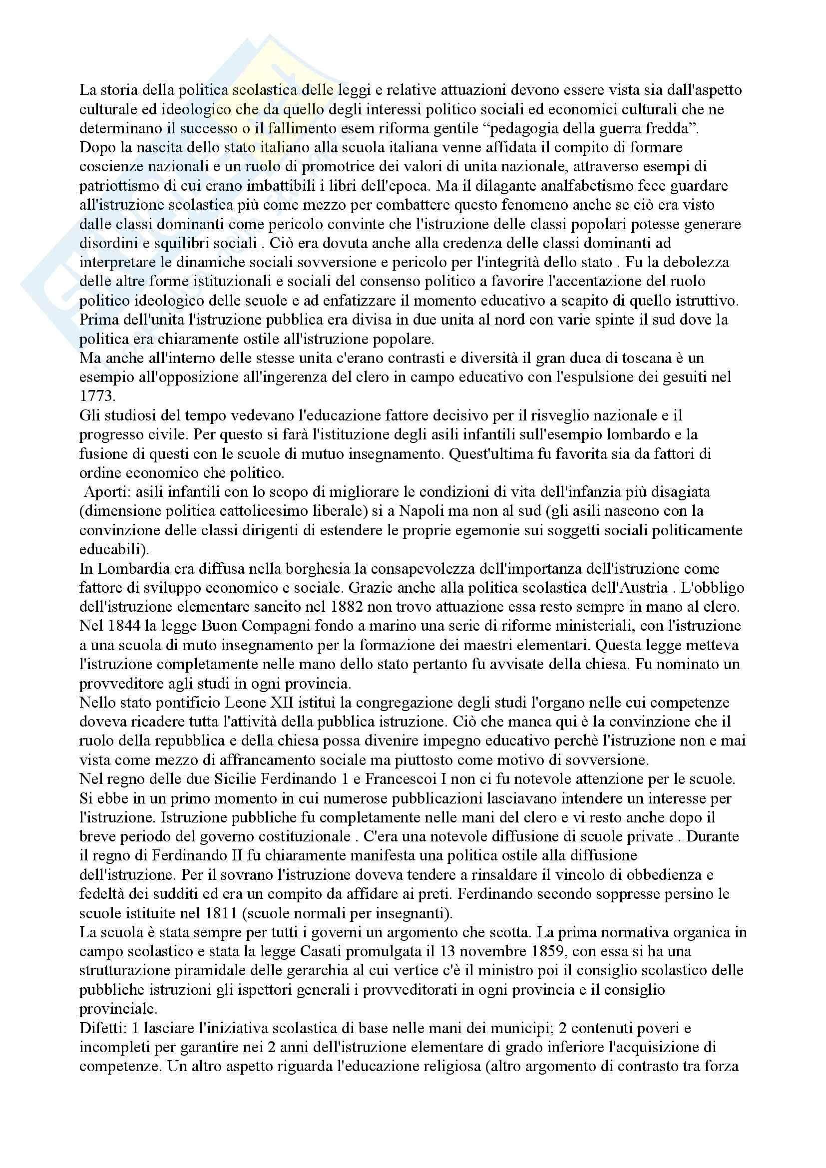 appunto E. Corbi Storia della pedagogia e delle istituzioni educative