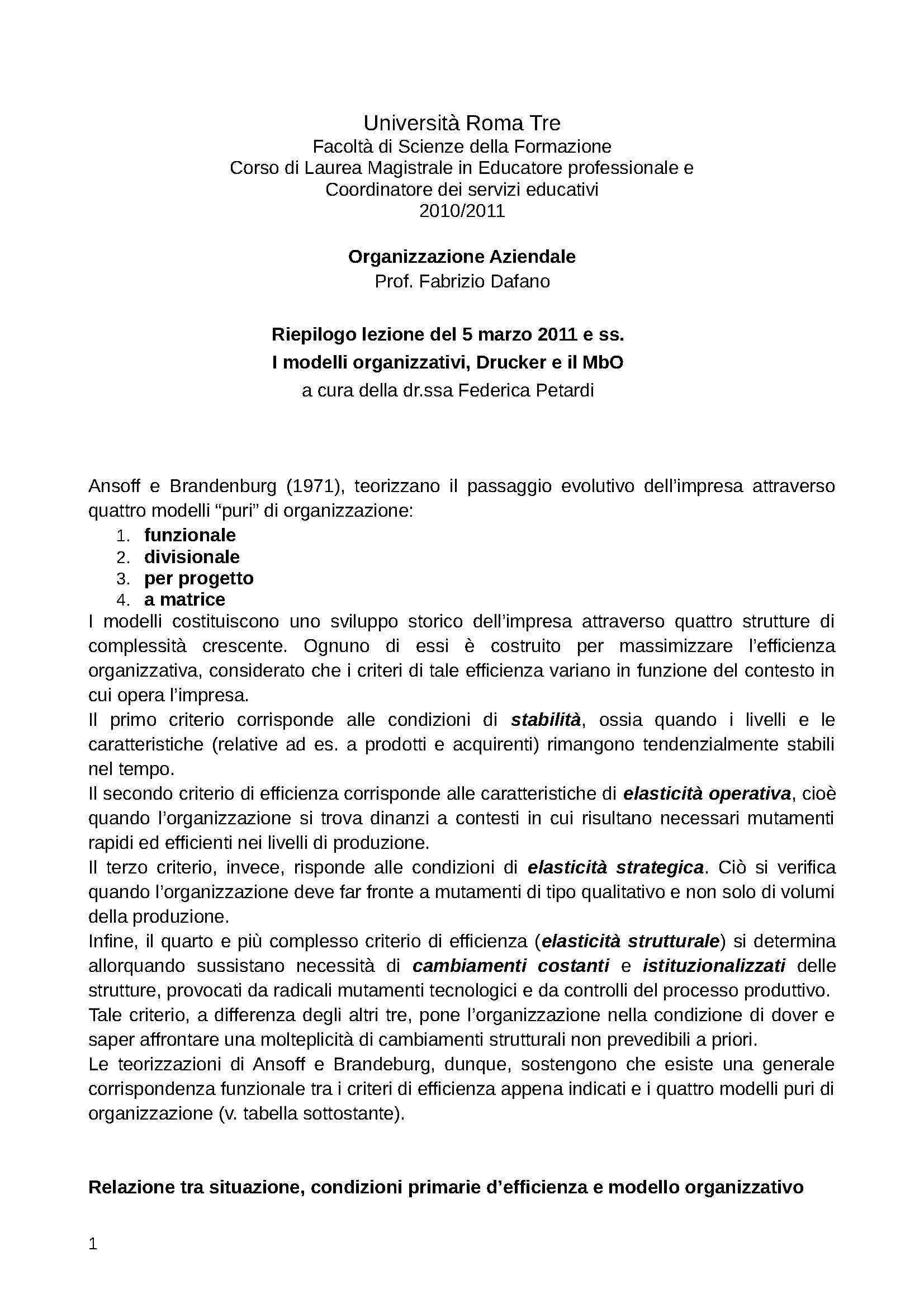 dispensa F. Dafano Organizzazione Aziendale