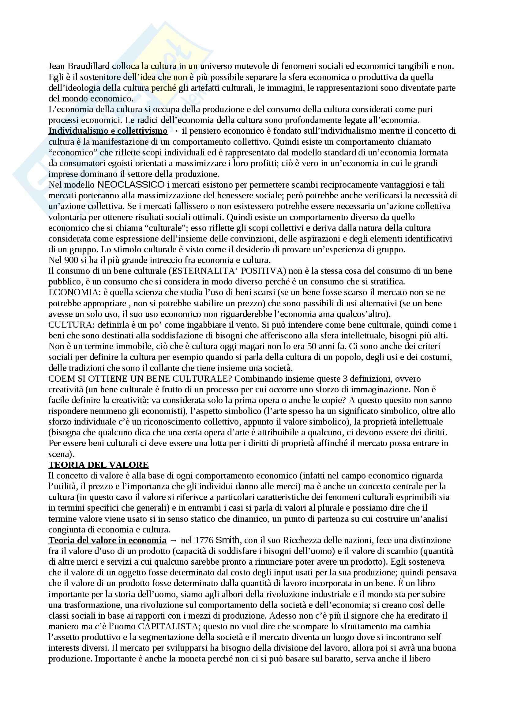 Economia della cultura - Appunti Pag. 2