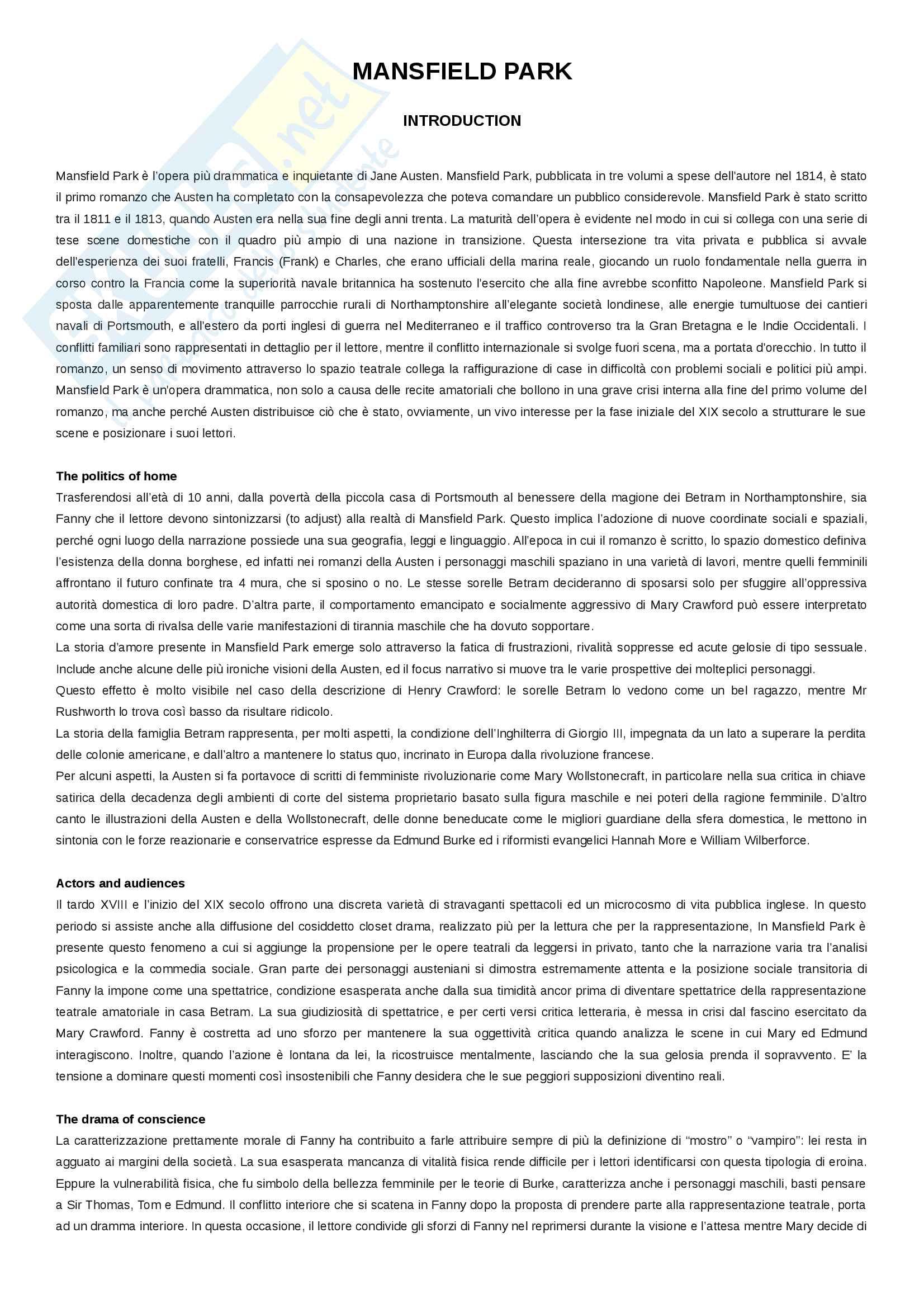 Riassunto in italiano - Mansfield Park capitolo per capitolo + appendici A e B