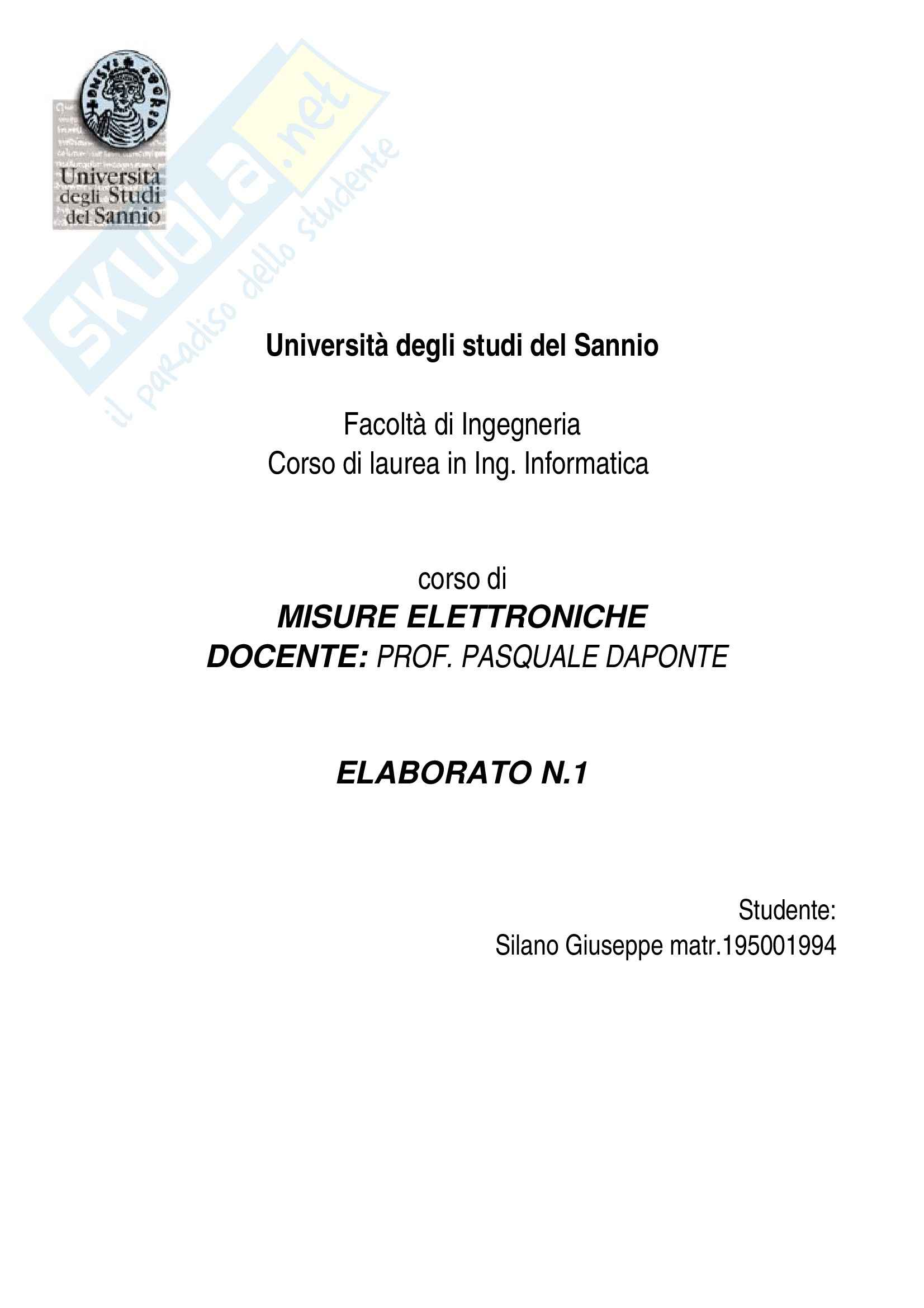 Taratura Voltmetro, Misure elettroniche