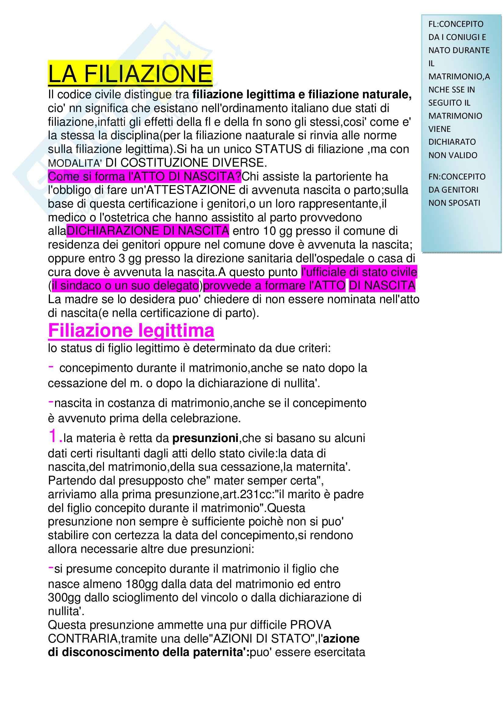 Diritto privato e di famiglia - la filiazione