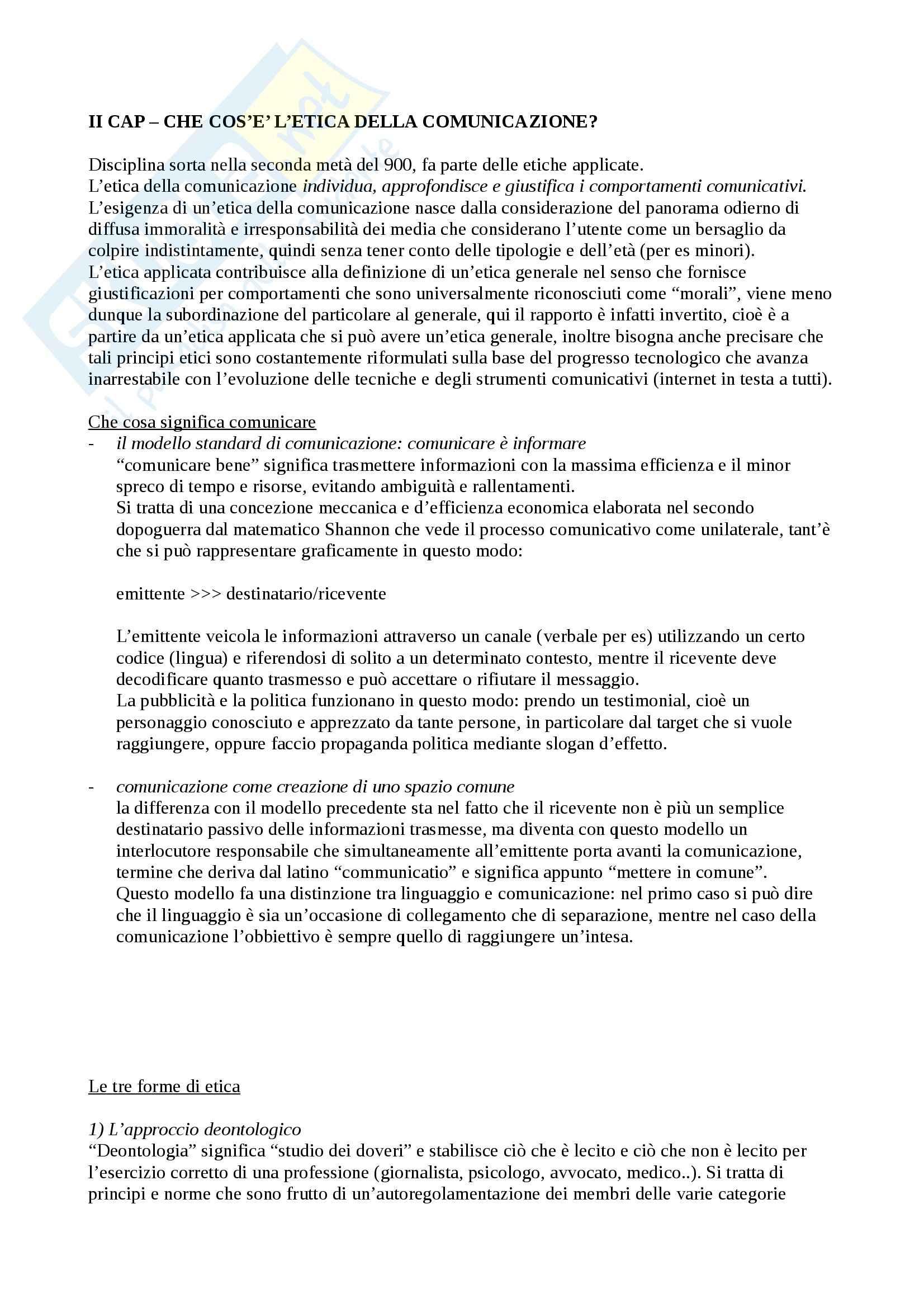 Riassunto esame Pedagogia, prof. Elia, libro consigliato Etica della comunicazione, Fabris Pag. 2