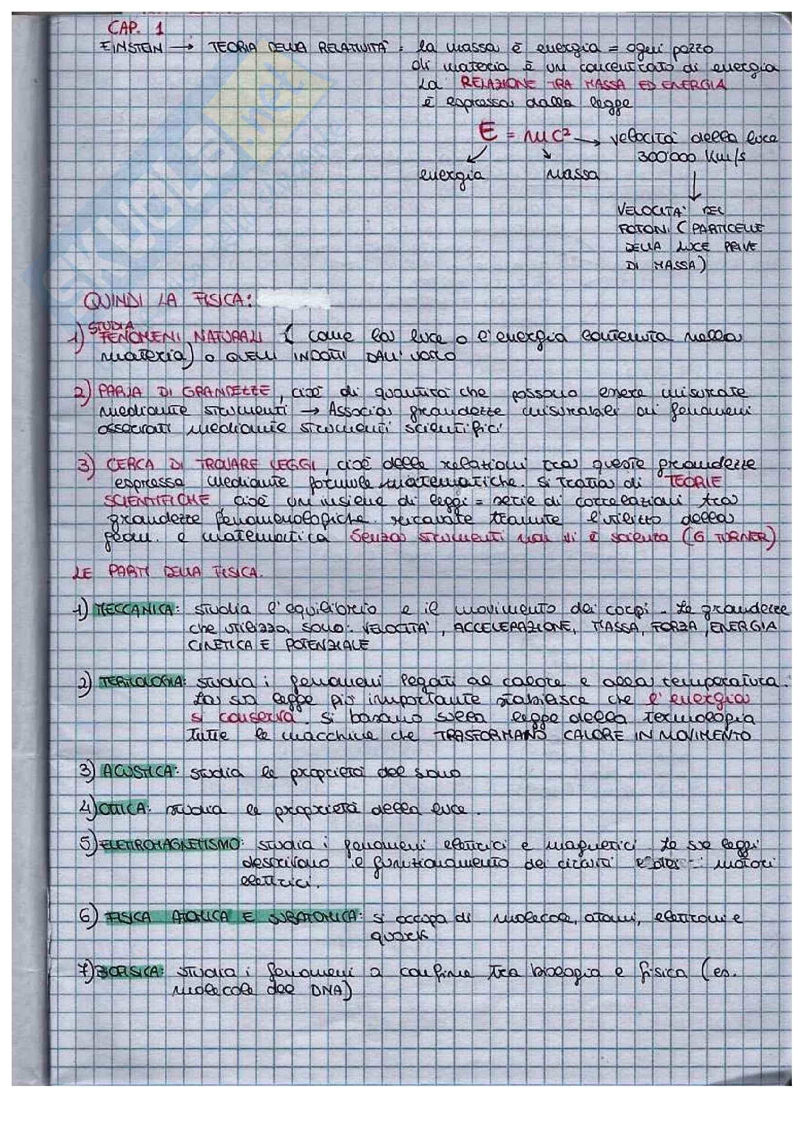 Appunti di fisica, lezioni del prof. Mantovani
