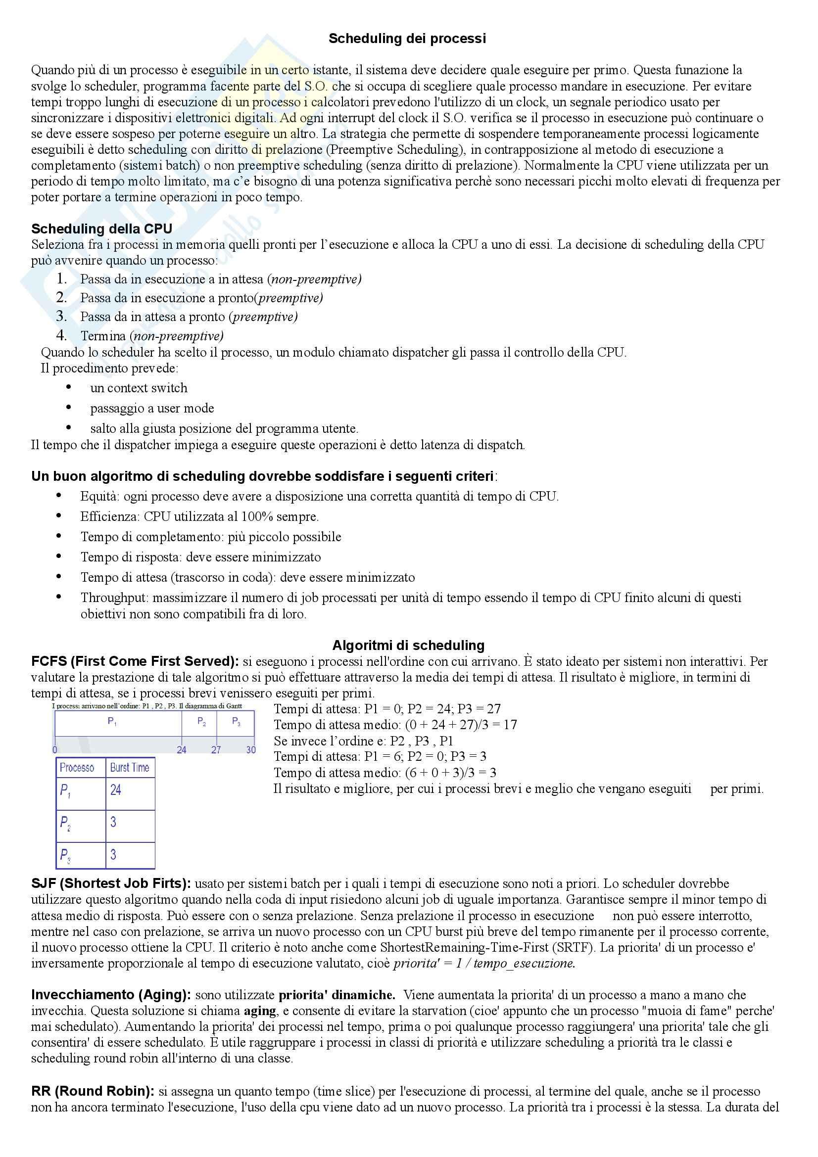 Sistemi operativi - Scheduling processi nei sistemi operativi