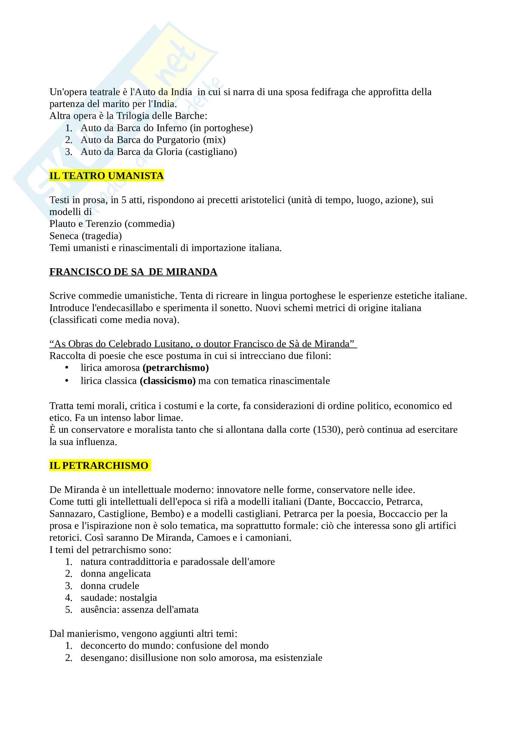 Riassunto esame letteratura portoghese, prof Gori, libro consigliato Breve storia della letteratura portoghese (pag 13-92), Tocco Pag. 6