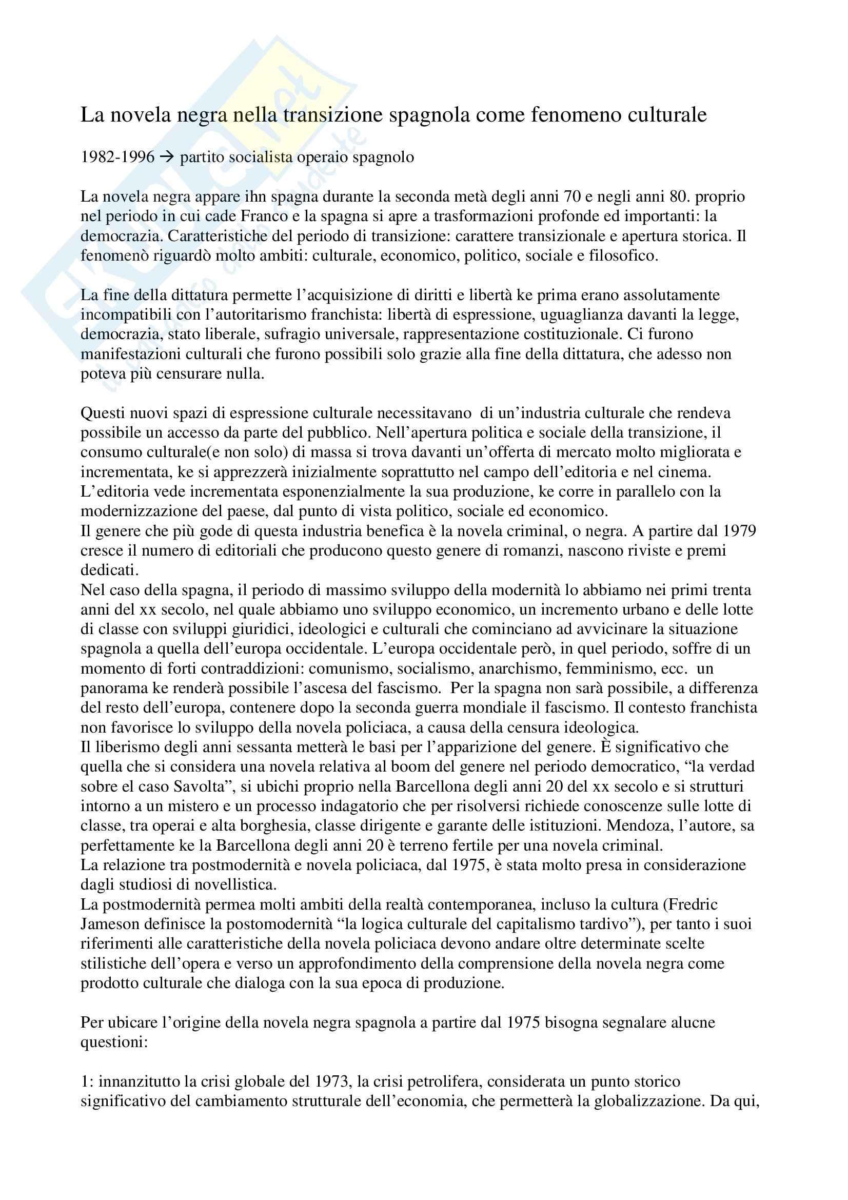 Letteratura spagnola - la novela negra