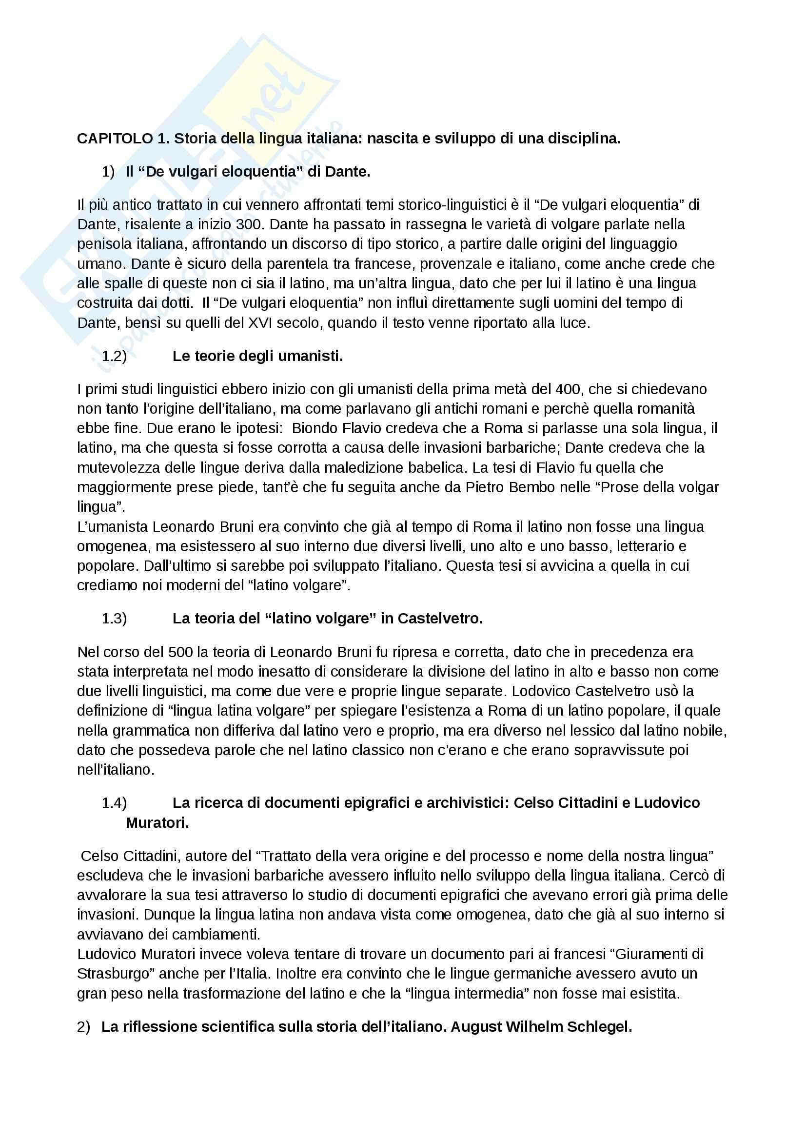 Riassunto esame Storia della Lingua Italiana, prof. Serianni, libro consigliato La Lingua Italiana, Marazzini