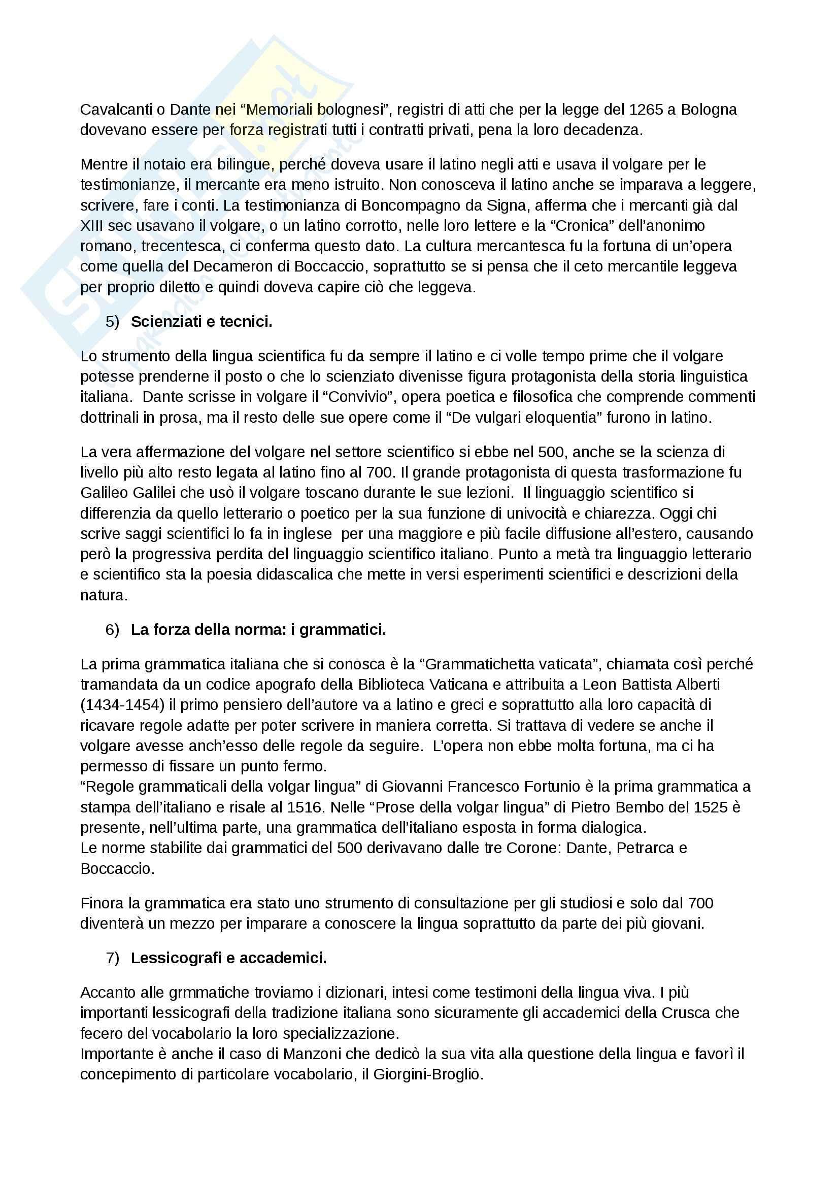 Riassunto esame Storia della Lingua Italiana, prof. Serianni, libro consigliato La Lingua Italiana, Marazzini Pag. 6