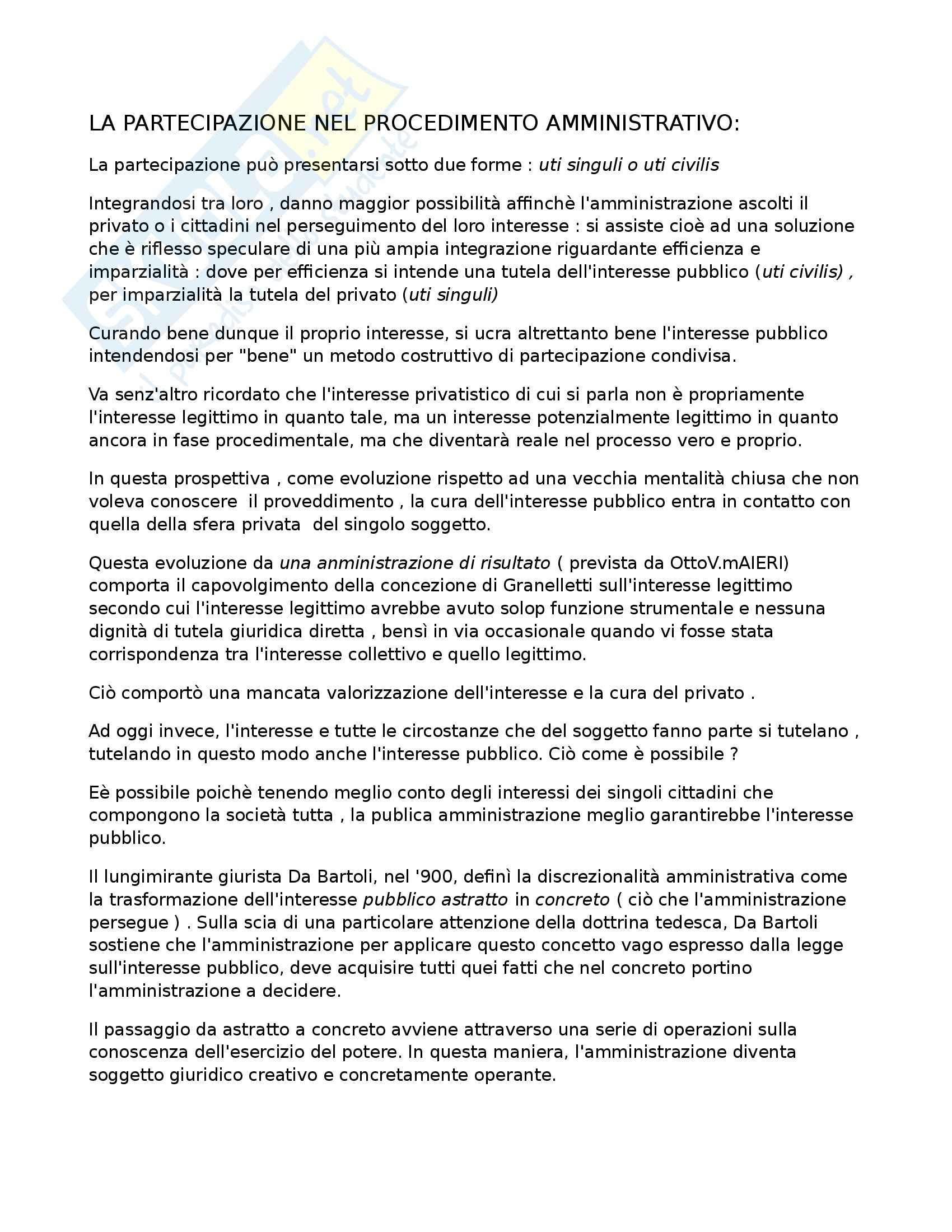 Diritto amministrativo 2 - Partecipazione e discrezionalità amministrativa