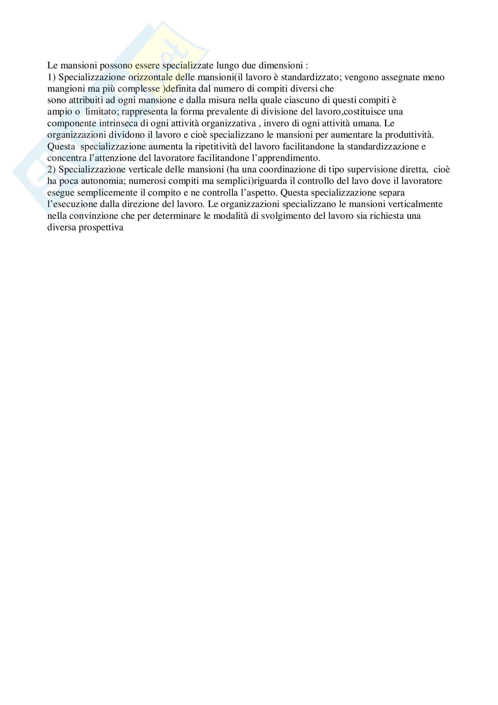 Organizzazione aziendale - Specializzazione delle mansioni