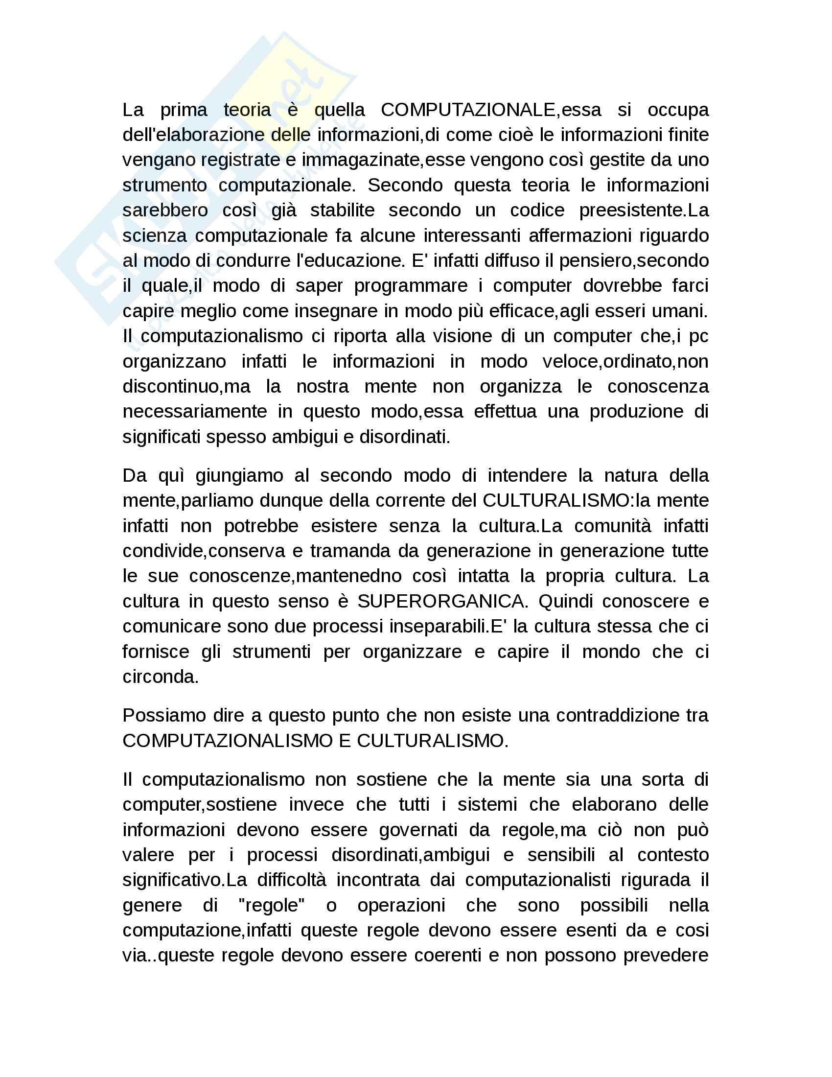 Riassunto esame Pedagogia generale, prof. De Sanctis, libro consigliato La cultura dell'educazione,Bruner Pag. 2
