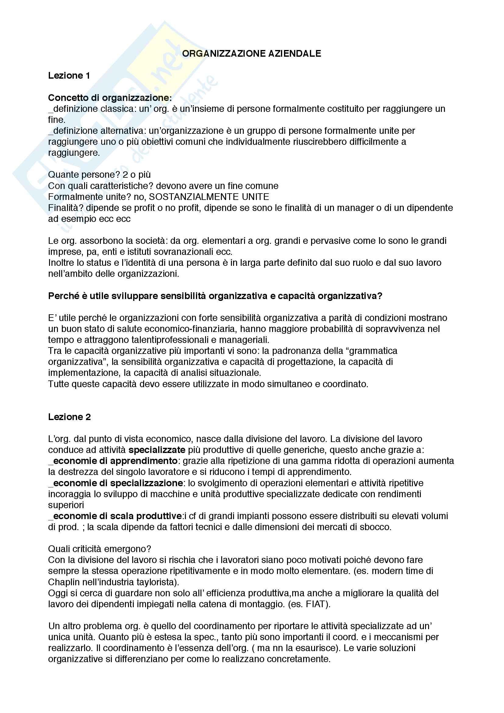 """Riassunto per l'esame di Organizzazione aziendale, prof. Francesconi, libro consigliato """"Mercati, gerarchie e convenzioni"""",McGraw-Hill"""