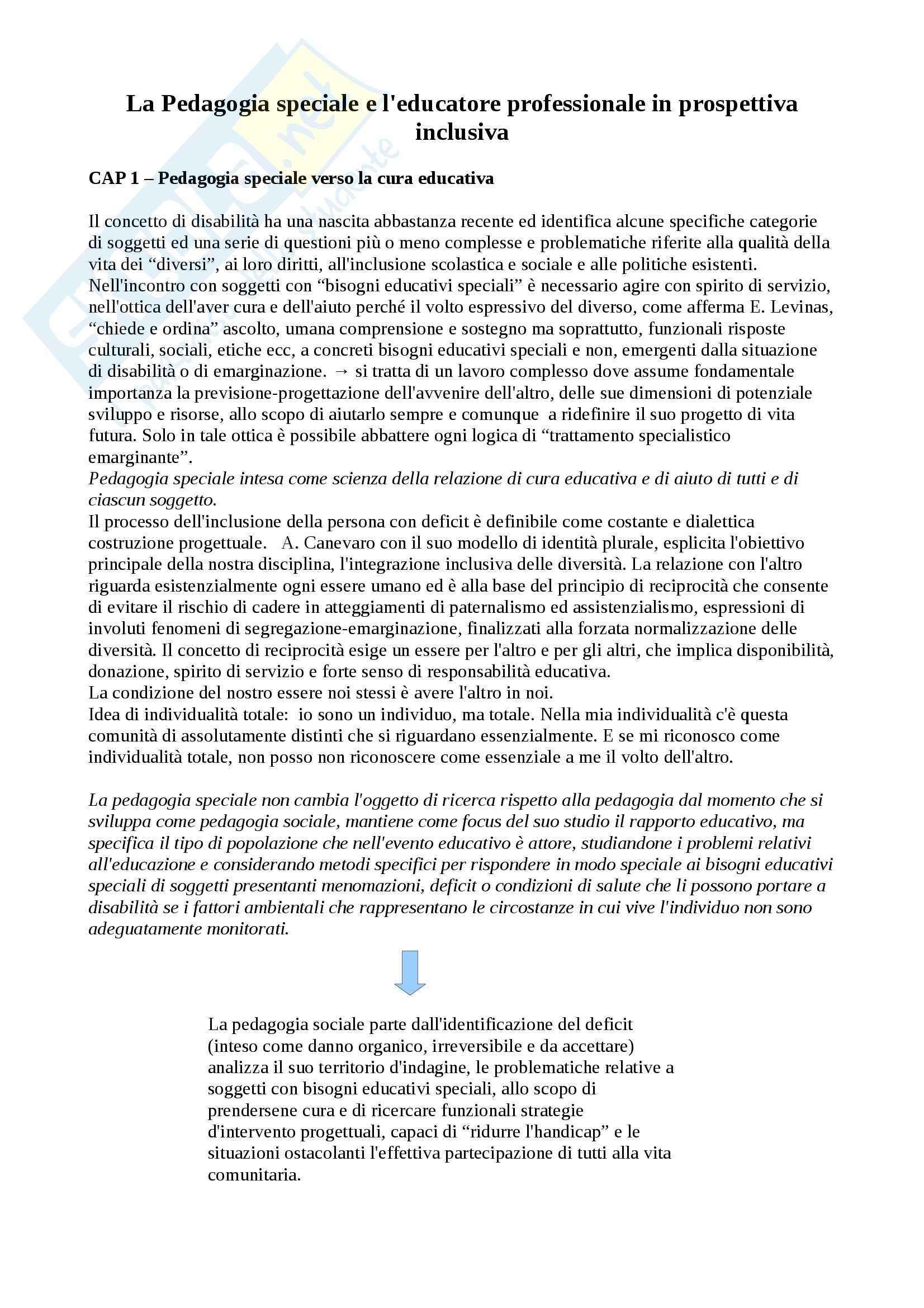 Riassunto esame Didattica dell'inclusione, prof. Palmieri, libro consigliato La pedagogia speciale e l'educatore professionale, Gaspari