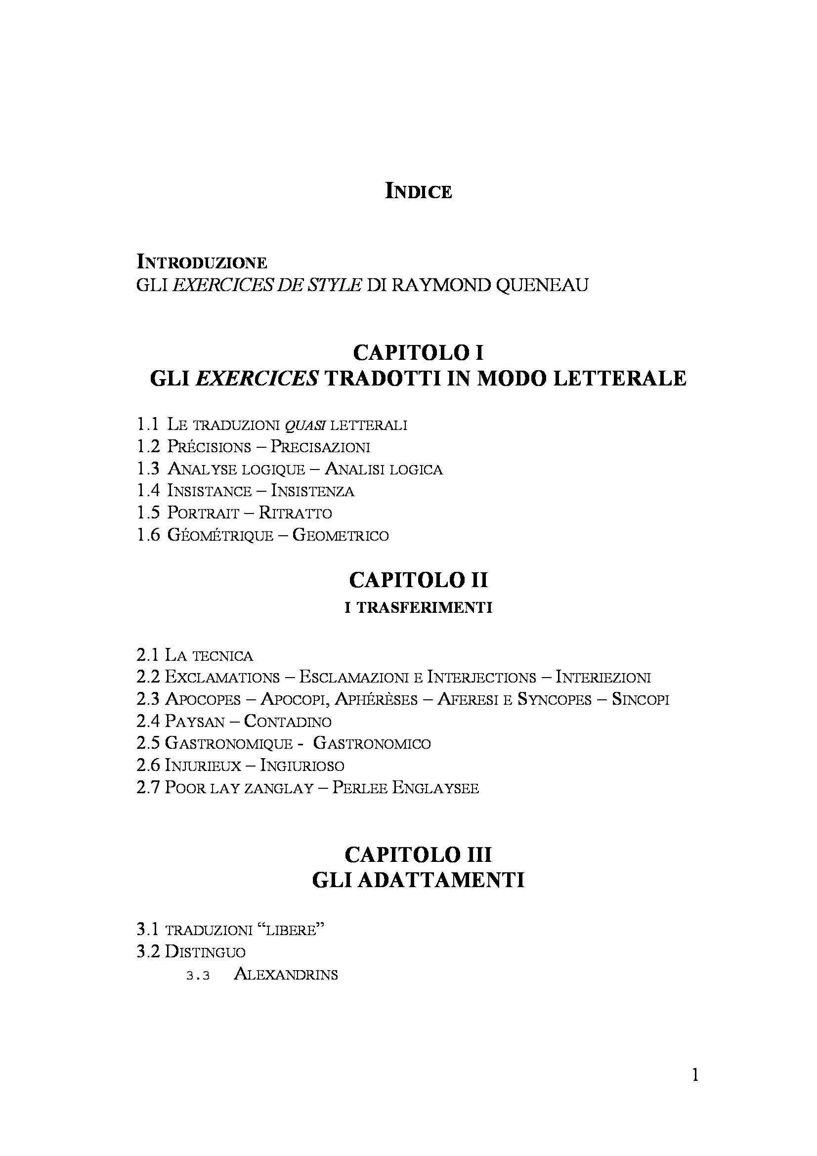 Tesi triennale - Gli Exercices de Style nella traduzione di Umberto Eco