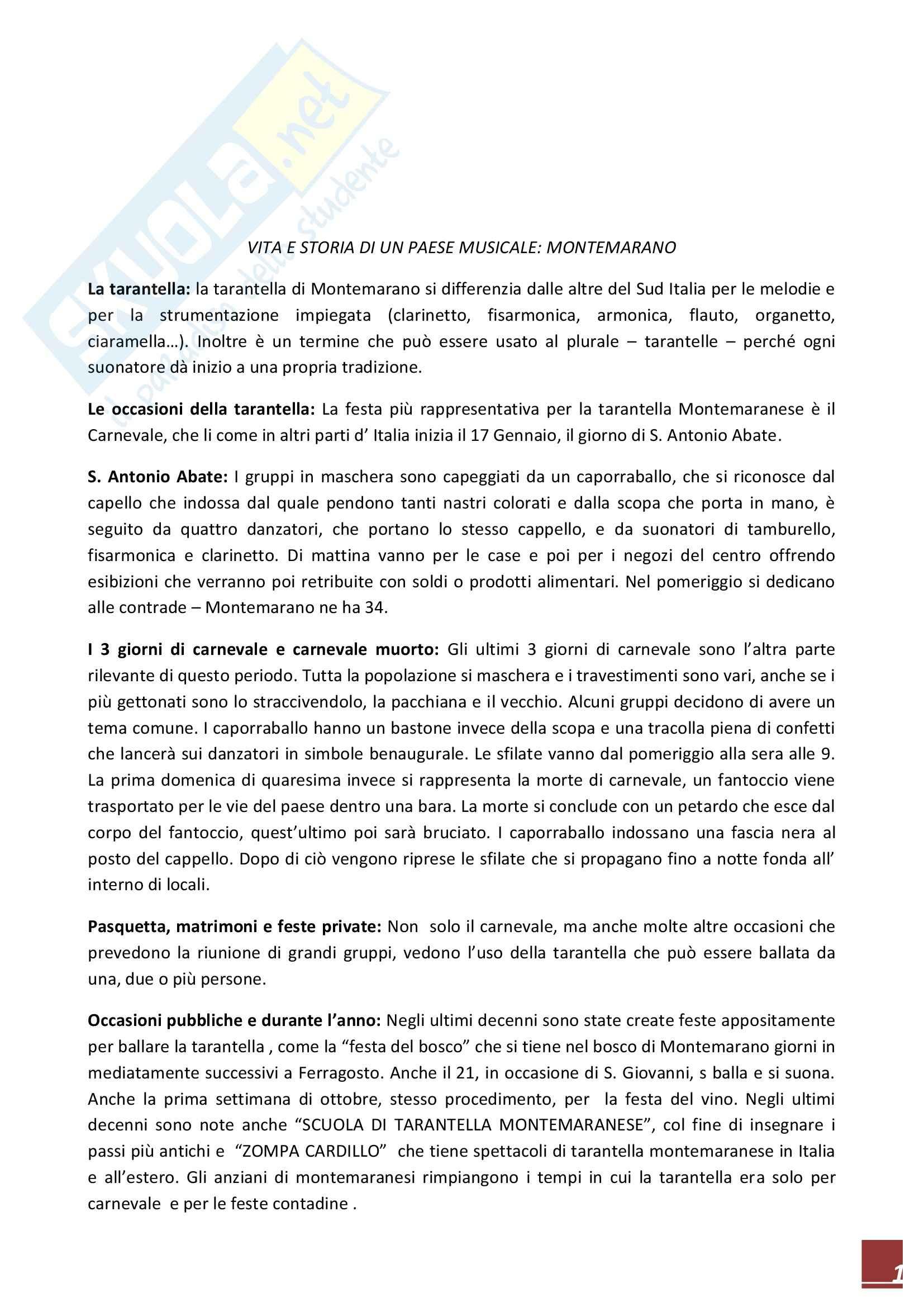 Riassunto esame Etnomusicologia, prof. Giuriati, libro consigliato Le Tarantelle e i Canti di Montemarano, Mascarà