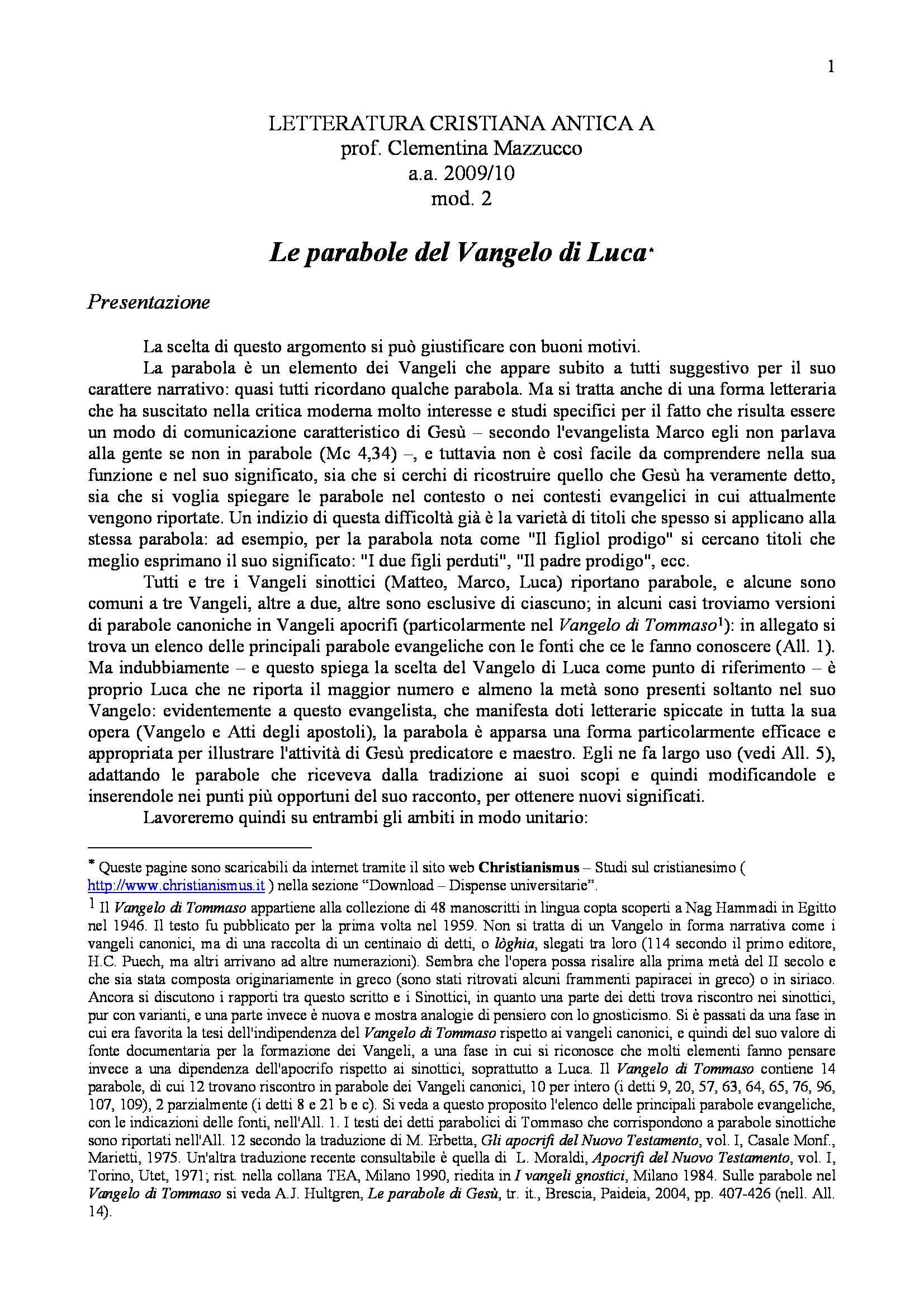 Parabole del Vangelo di Luca