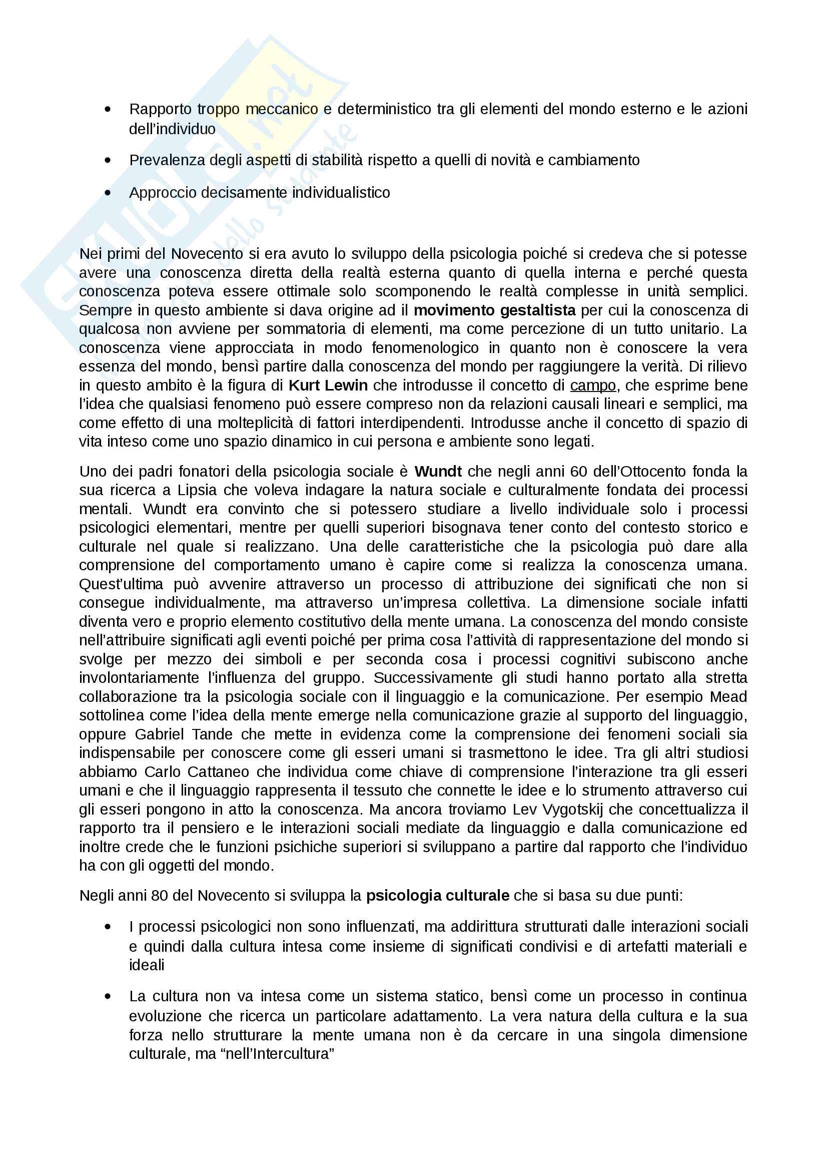 Riassunto esame Psicologia sociale, prof. Sarrica, libro consigliato La psicologia sociale. Processi mentali, comunicazione e cultura Pag. 2