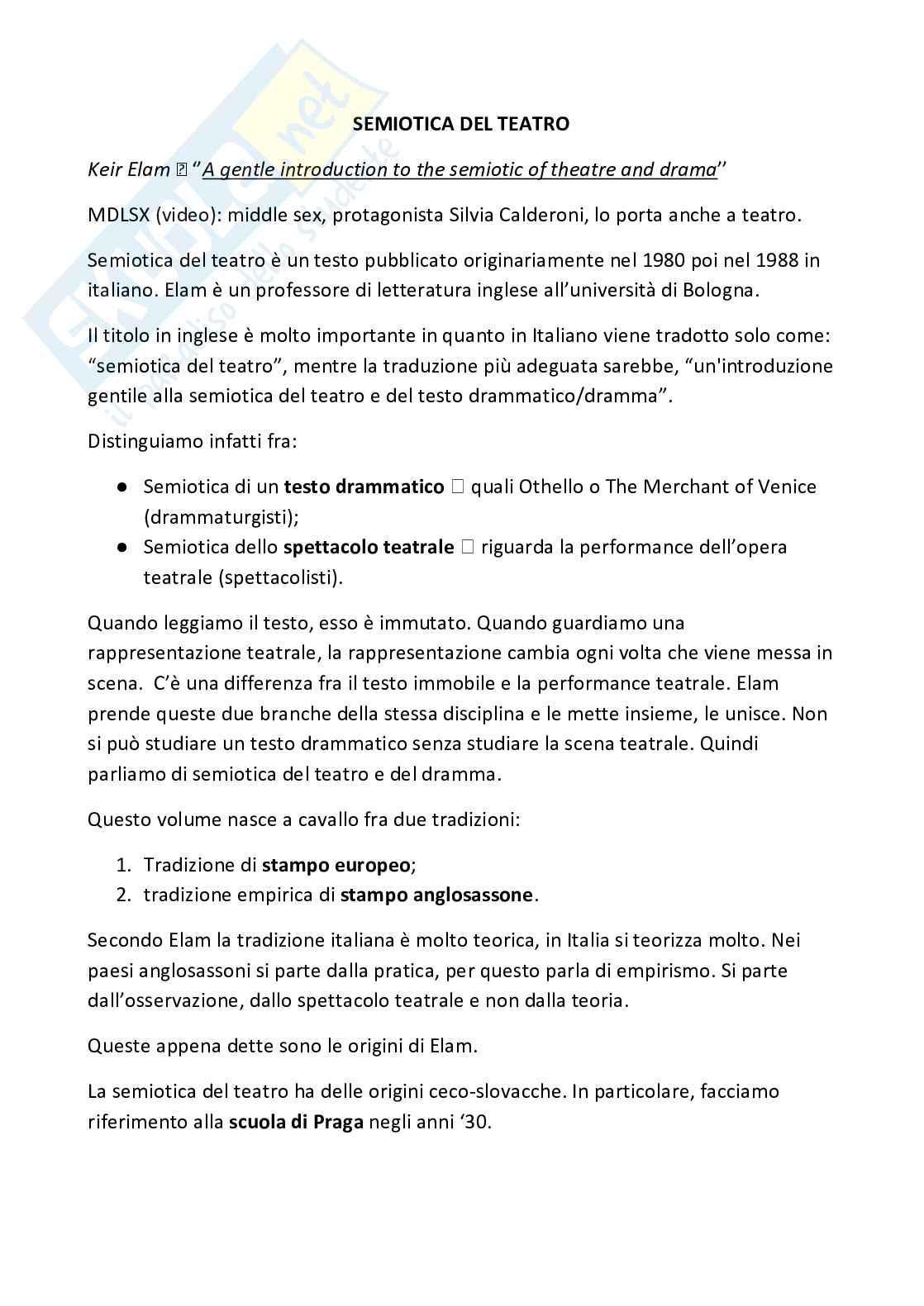 "Riassunto esame Letteratura inglese Prof. Mancini, Libro consigliato ""Semiotica del Teatro"", Elam"