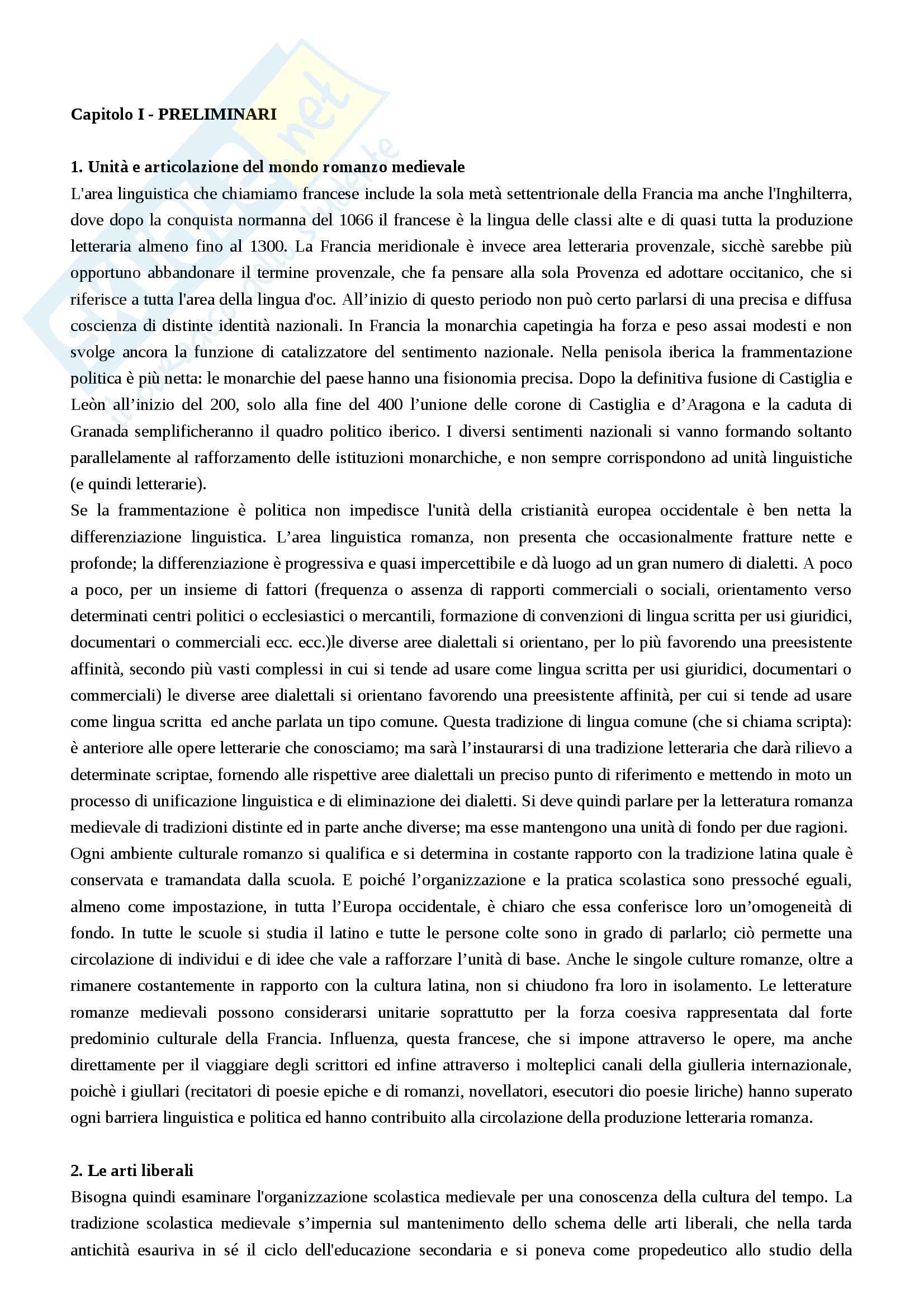 Riassunto esame Filologia romanza, prof. Luongo, libro consigliato Letterature romanze del Medioevo, Varvaro