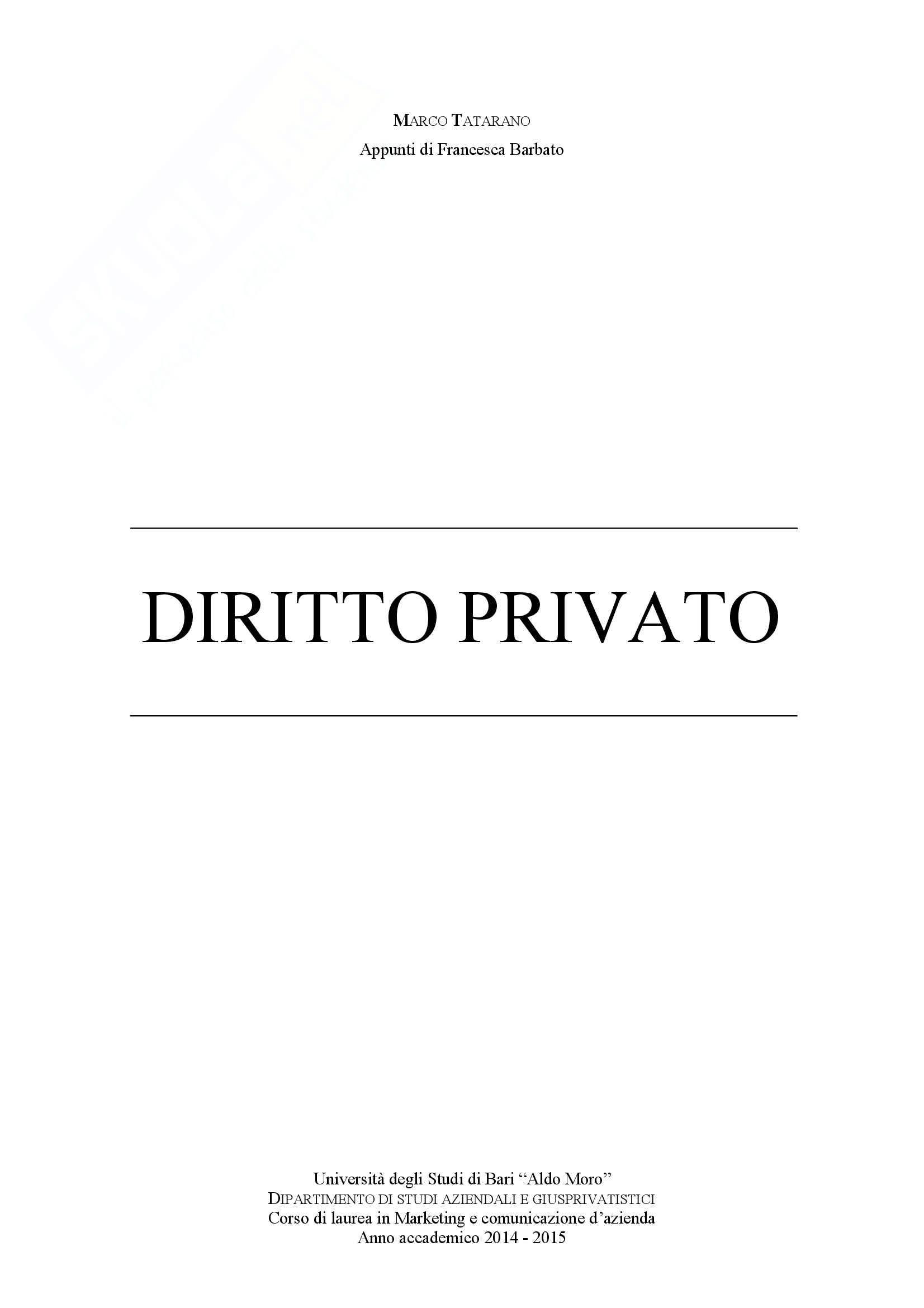 appunto M. Tatarano Diritto privato