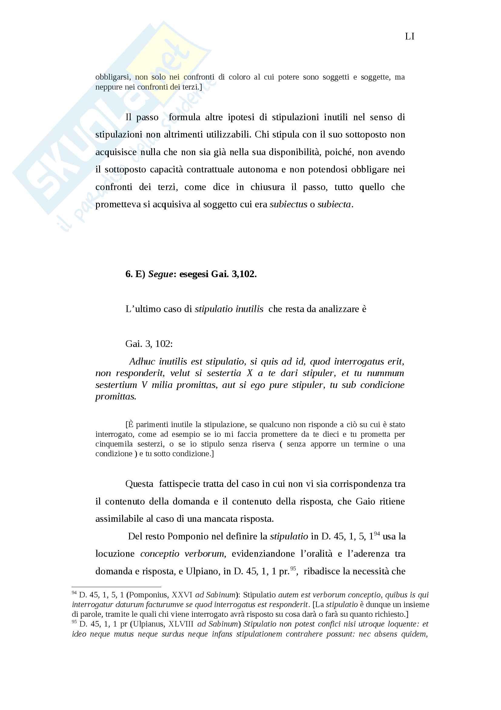 Invalidità ed inefficacia del negozio giuridico in diritto romano Pag. 51