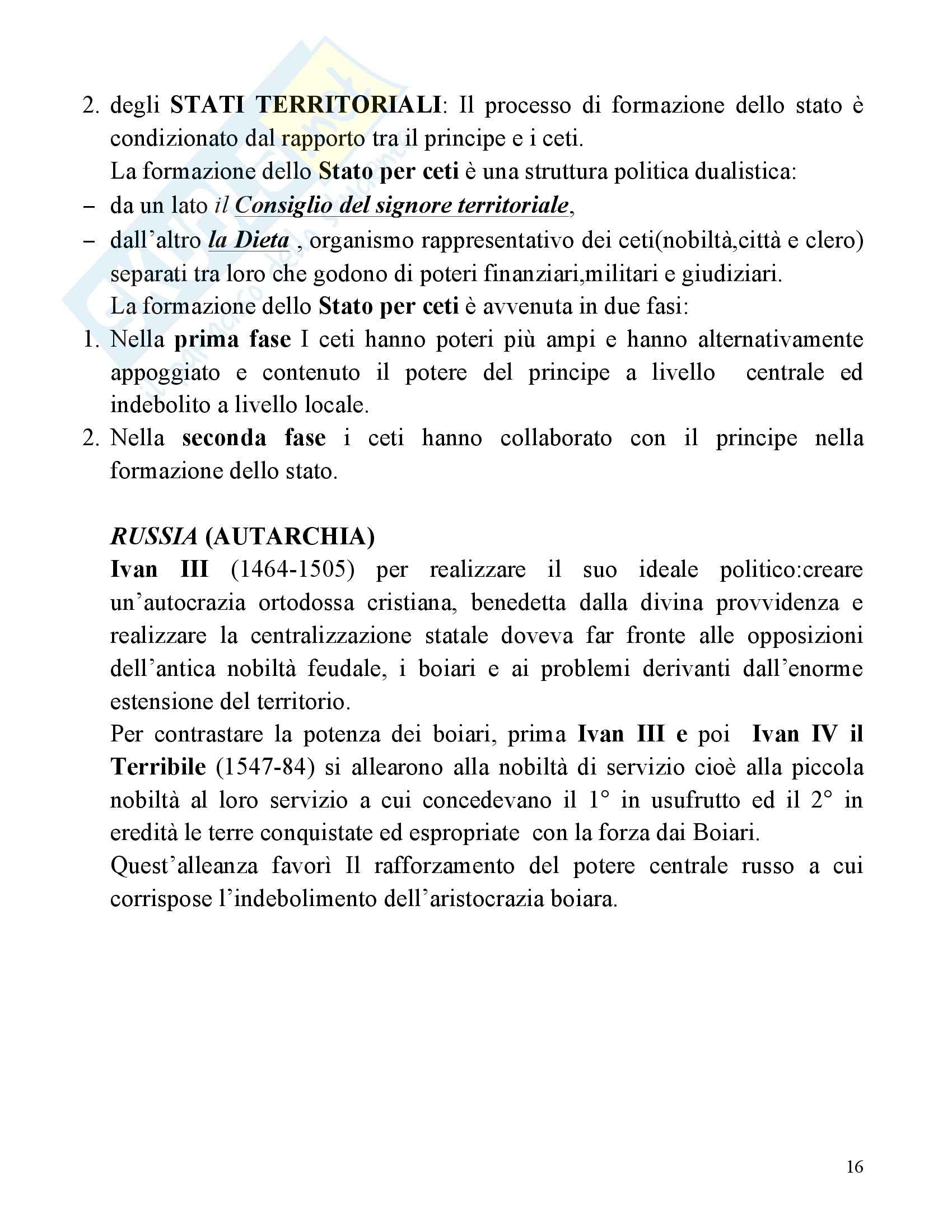 Riassunto esame Storia Moderna, prof. Fiorelli, libro consigliato Le Vie della Modernità, Musi Pag. 16