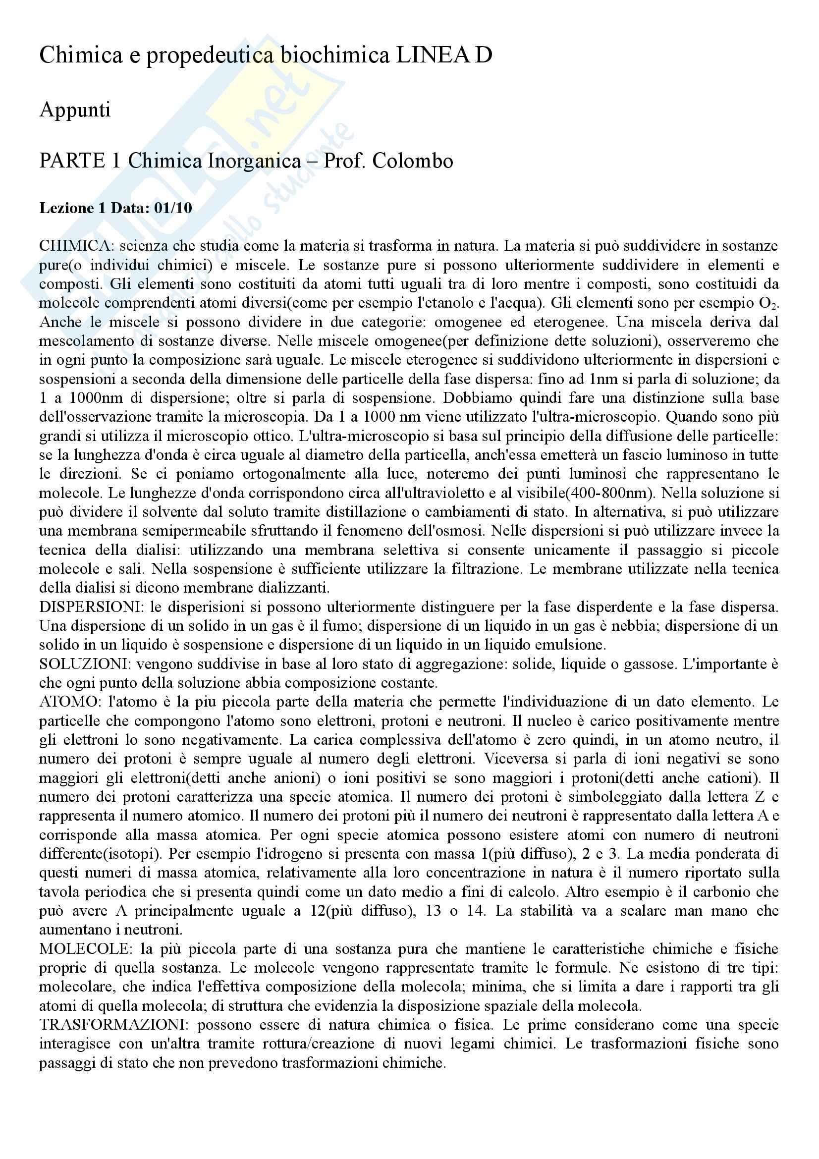 appunto D. Colombo Chimica e propedeutica biochimica