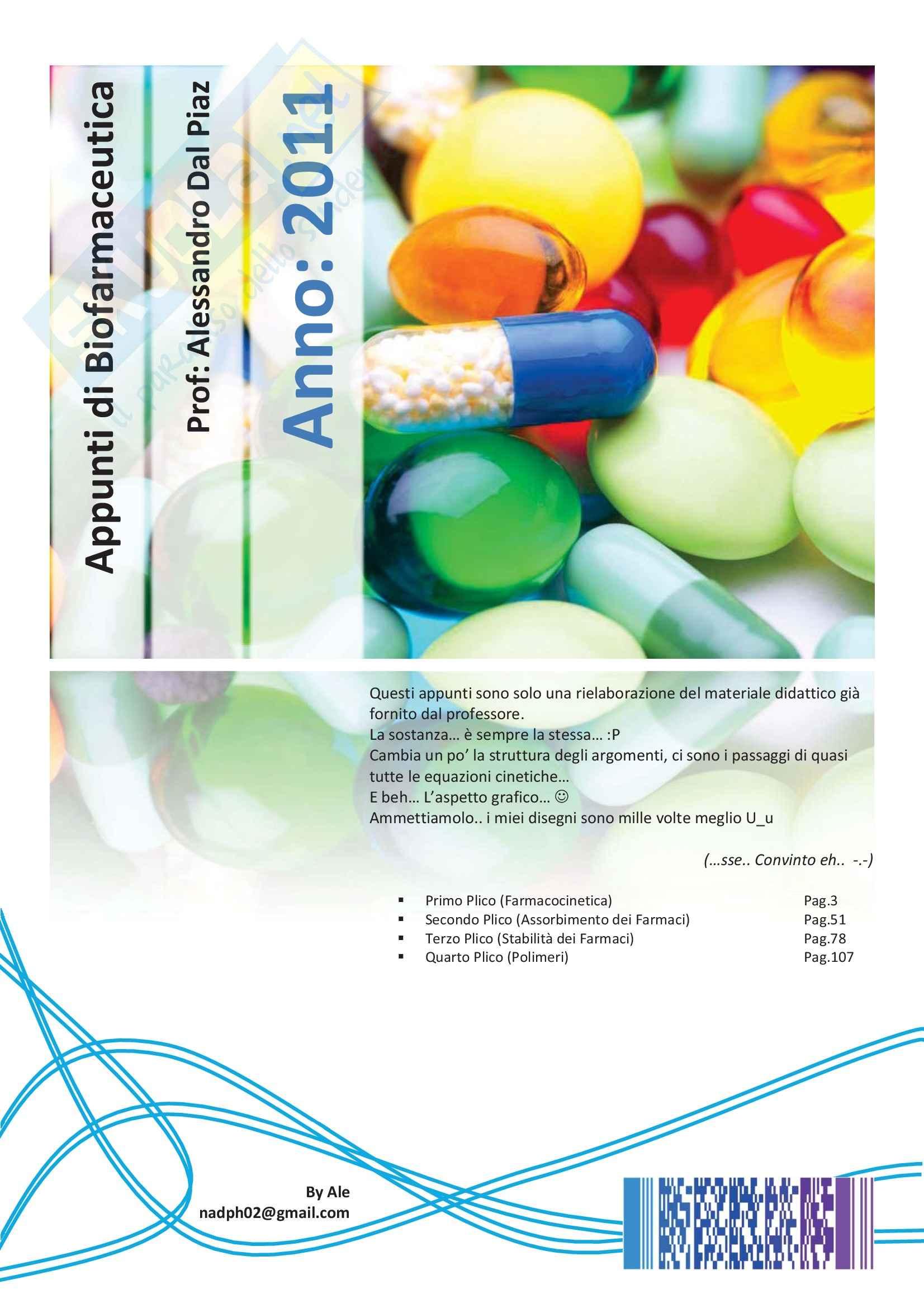 Biofarmaceutica - Appunti