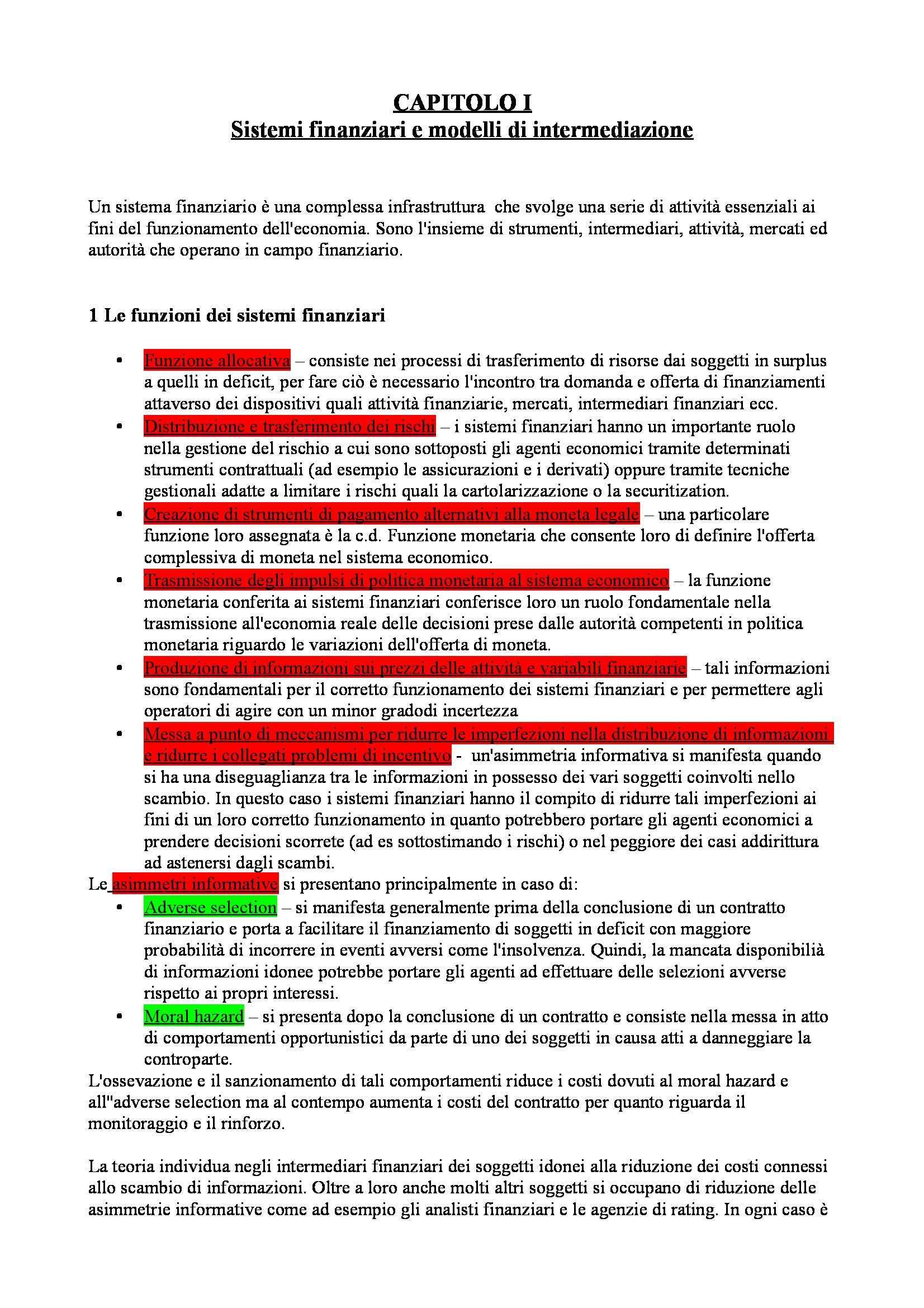 Riassunto esame Economia degli intermediari finanziari, prof. Moro, libro consigliato Banfi Biasin