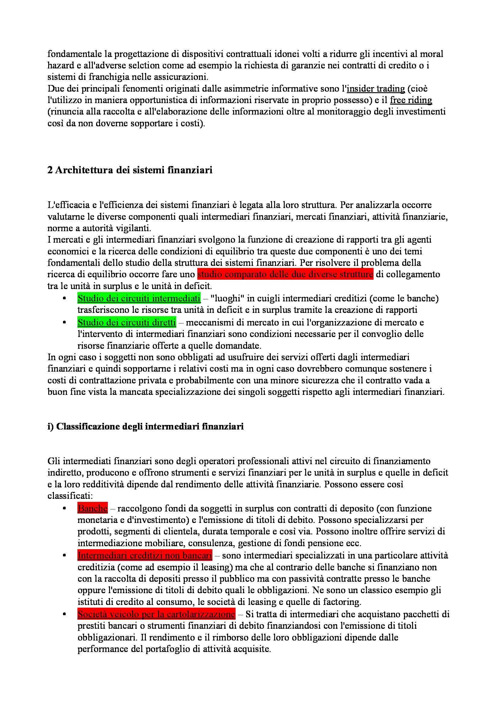 Riassunto esame Economia degli intermediari finanziari, prof. Moro, libro consigliato Banfi Biasin Pag. 2