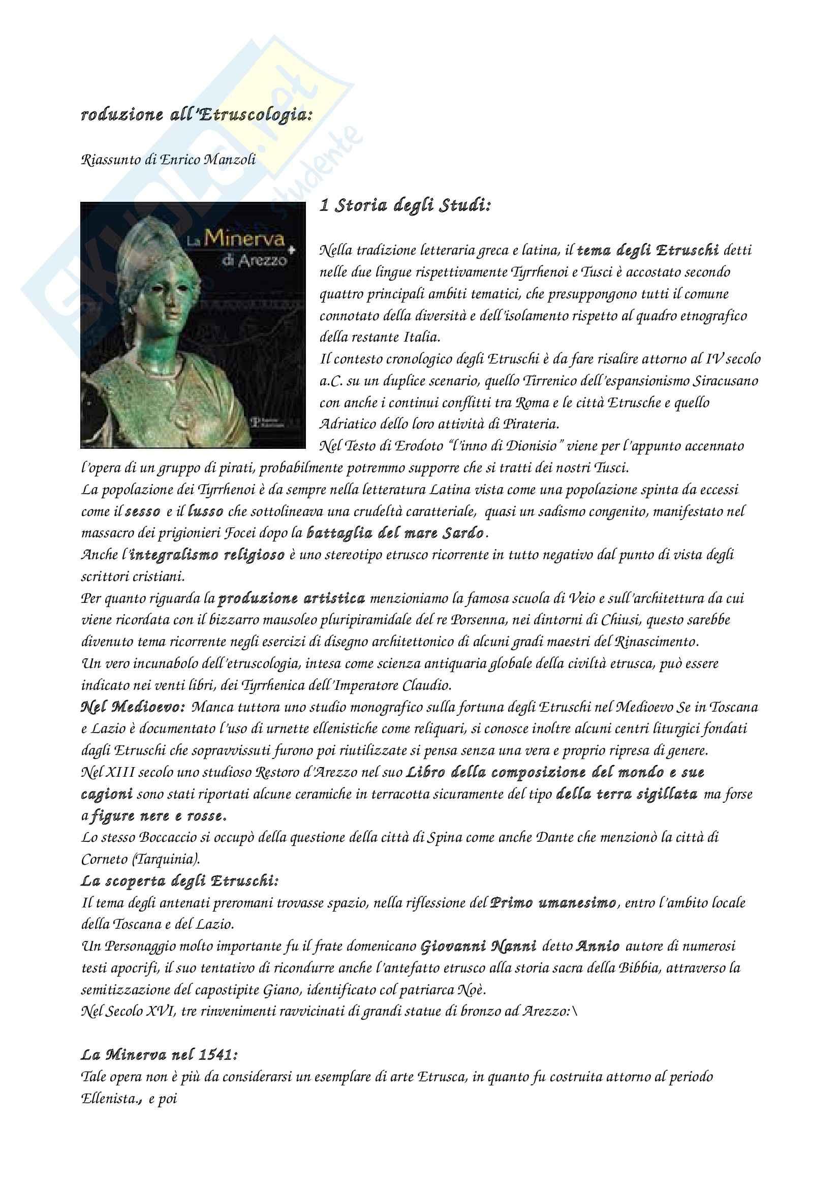 Riassunto esame Etruscologia e Antichità Italiche, prof. Bagnasco, libro consigliato Introduzione all'Etruscologia, Bartolini