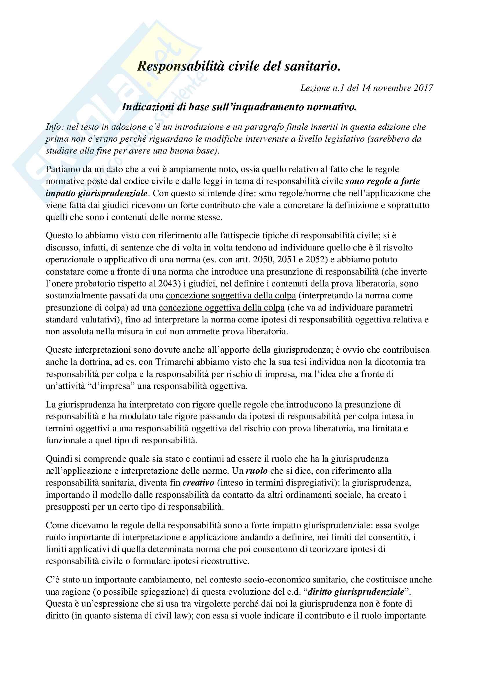 Responsabilità civile del sanitario, diritto civile