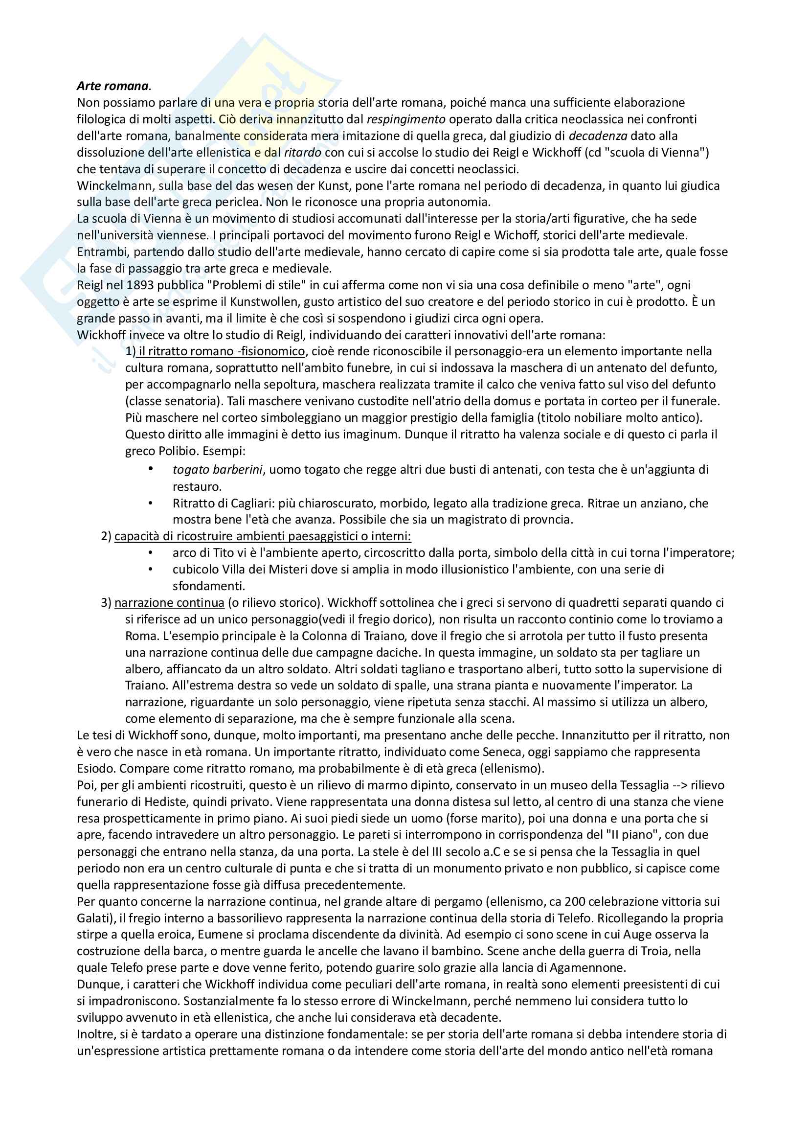 Riassunto esame archeologia romana, prof. Angiolillo, testo consigliato L'Arte dell'Antichità Classica (Etruria Roma) di Bianchi Bandinelli, Torelli