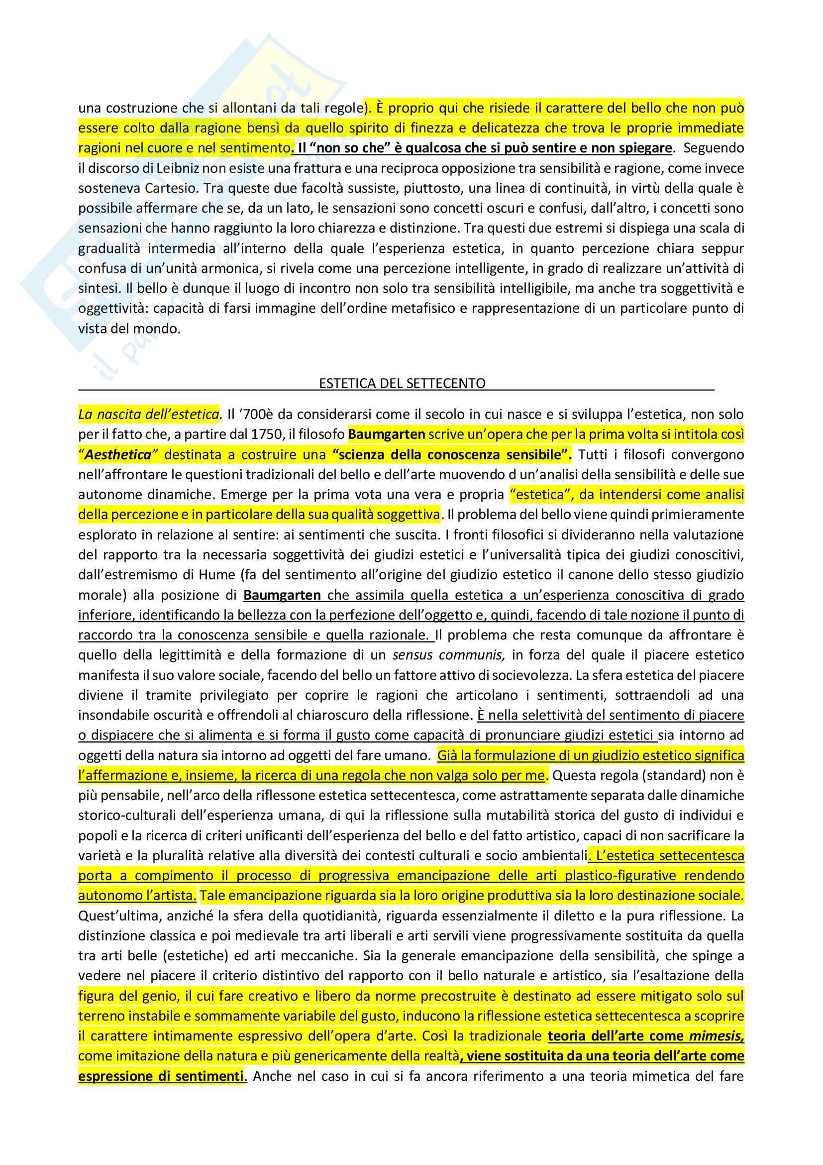 Appunti su storia dell'estetica occidentale Pag. 11