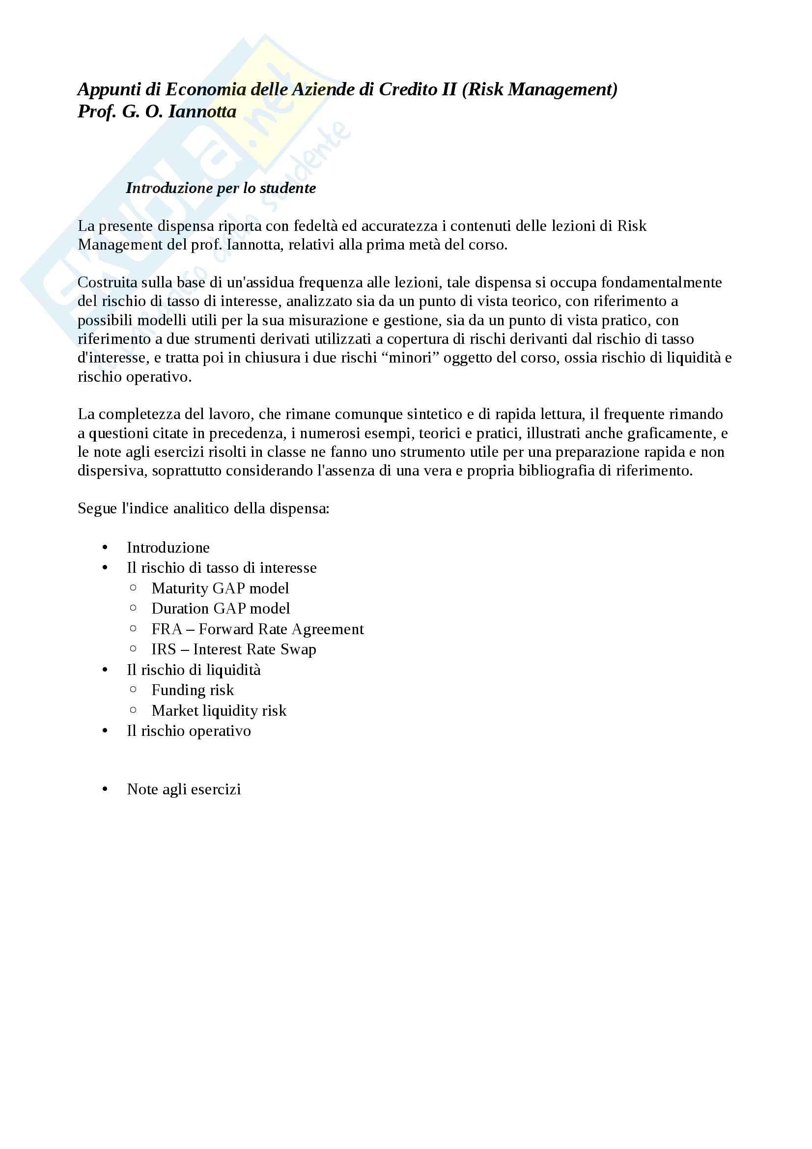 Lezioni, Risk Management (Primo parziale)