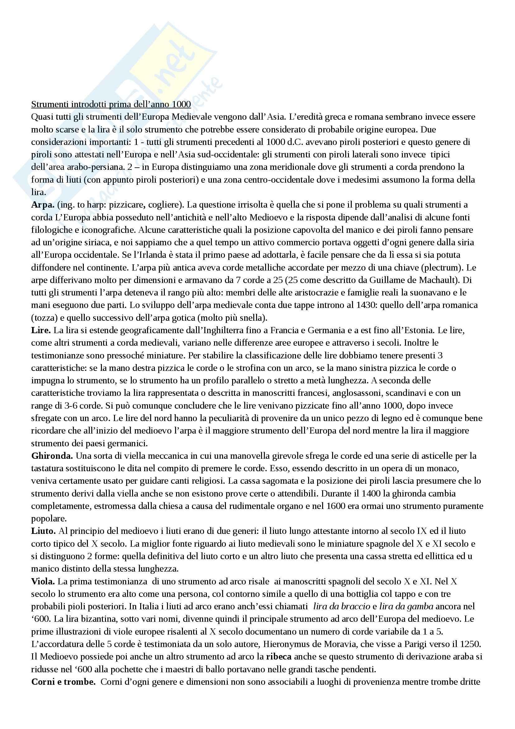 Riassunto esame Storia degli Strumenti Musicali, prof. Di Benedetto, libro consigliato Storia degli Strumenti Musicali, Sachs