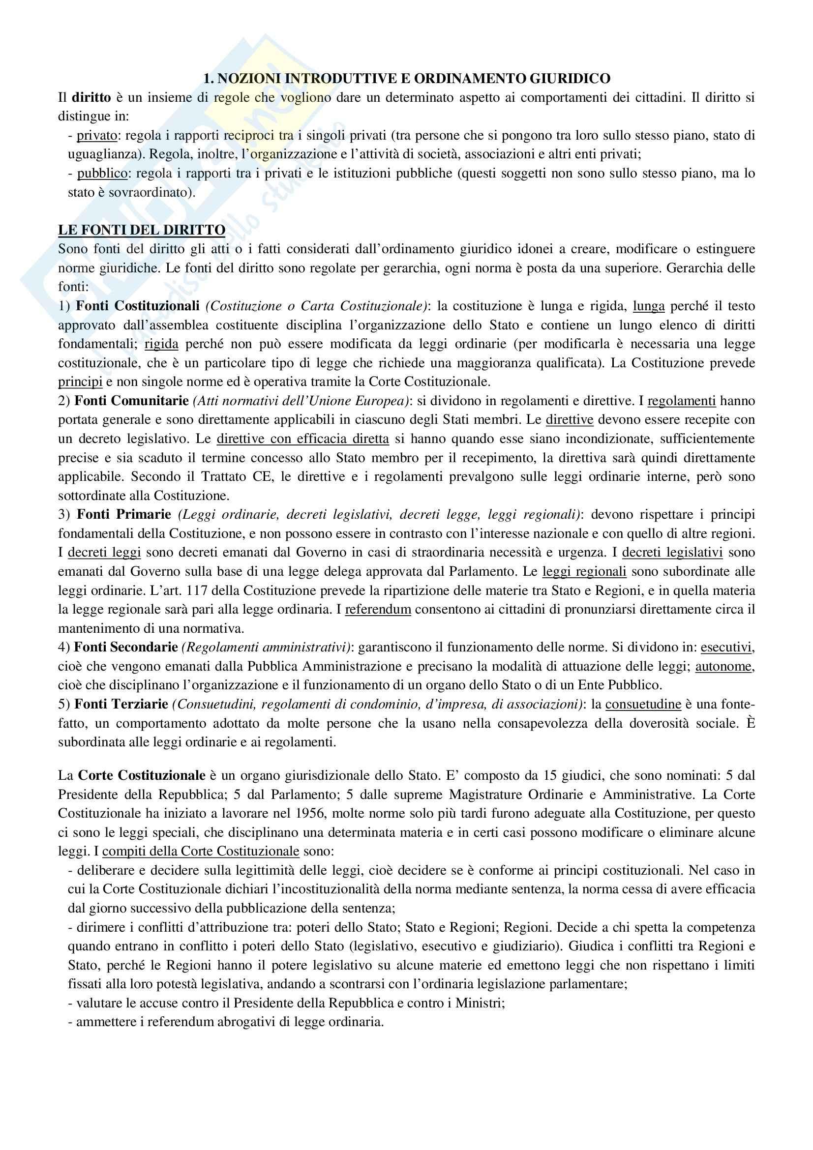 Riassunto esame Diritto Privato, prof. Ciocia, libro consigliato Istituzioni di Diritto Civile, Perlingieri
