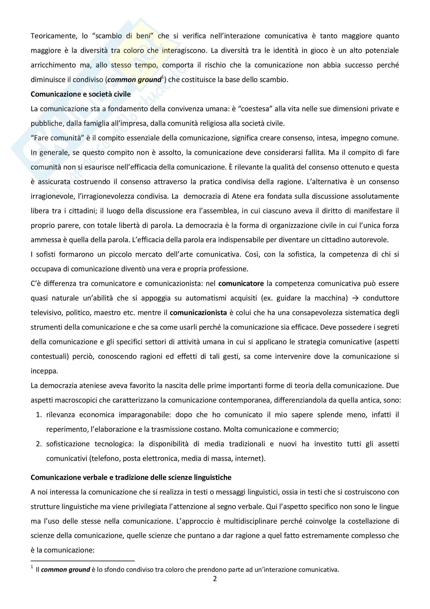 Riassunto esame di Linguistica Generale, docente Gatti, libro consigliato Comunicazione Verbale, Rigotti-Cigada (cap. 1-4.5) Pag. 2
