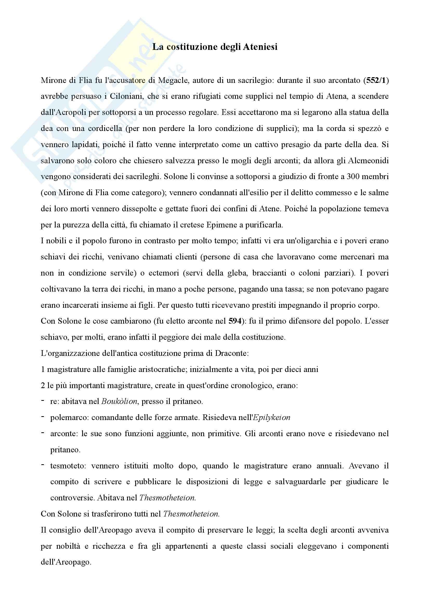 Storia greca - costituzione degli Ateniesi di Aristotele