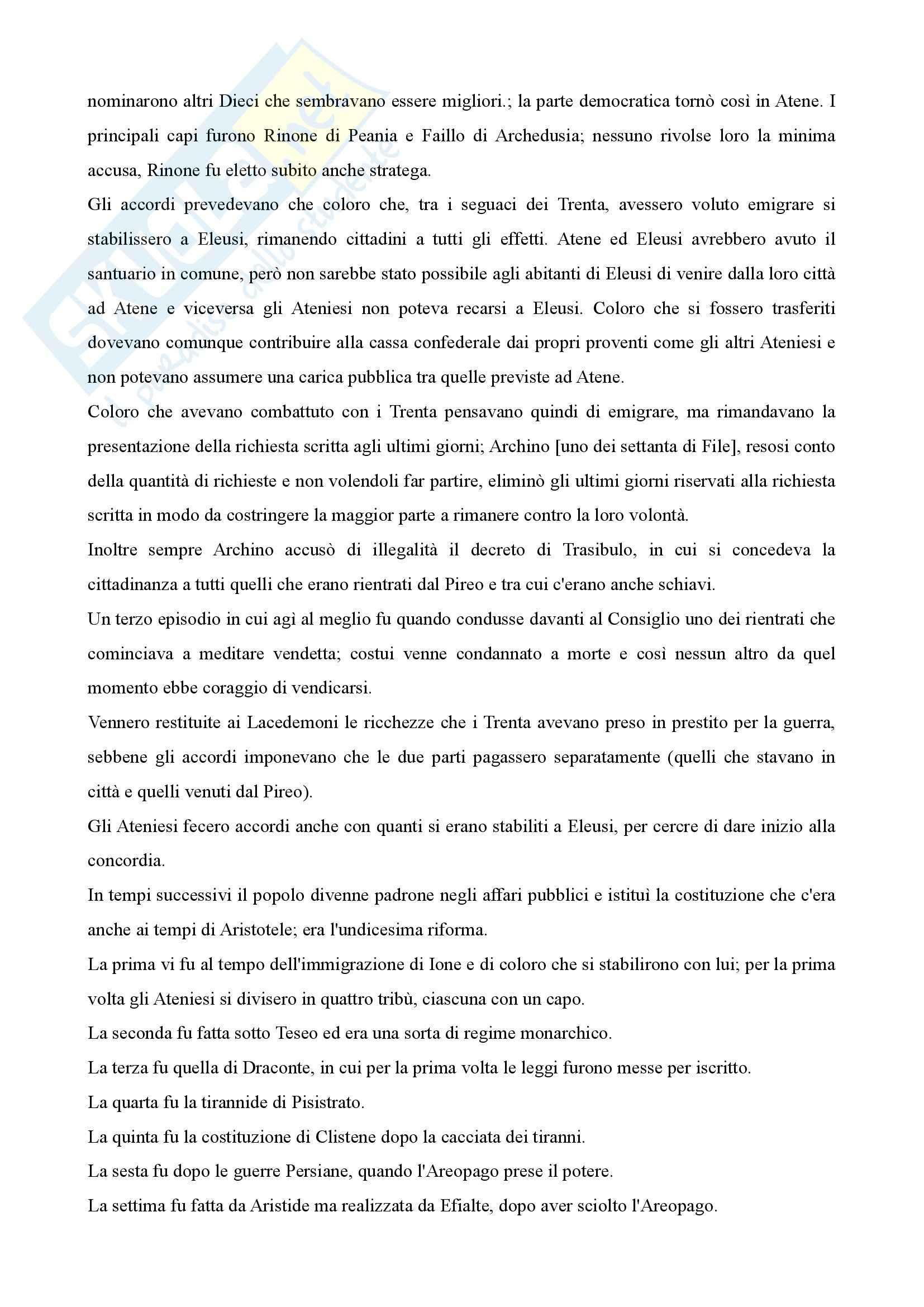 Storia greca - costituzione degli Ateniesi di Aristotele Pag. 11