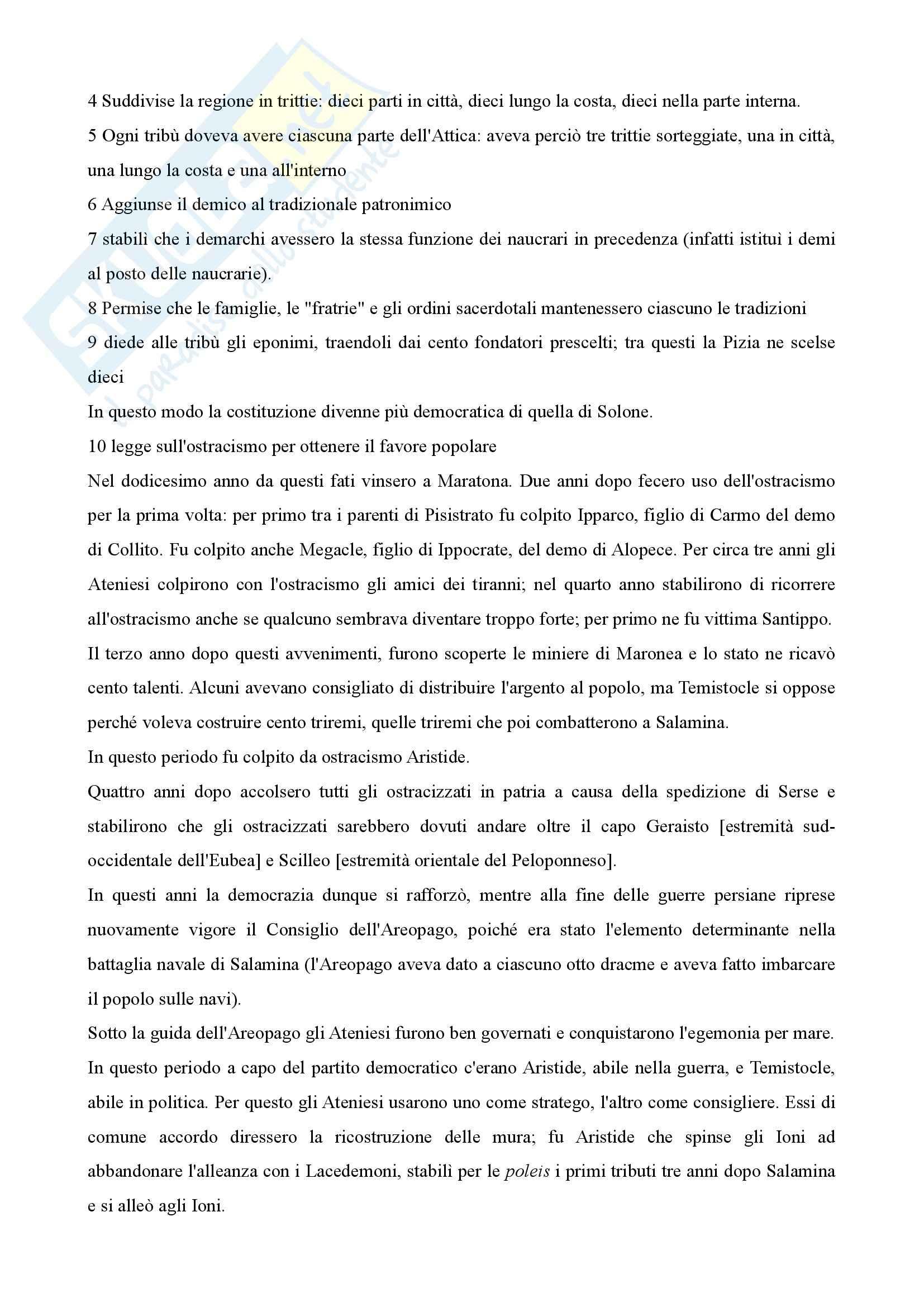 Storia greca - costituzione degli Ateniesi di Aristotele Pag. 6