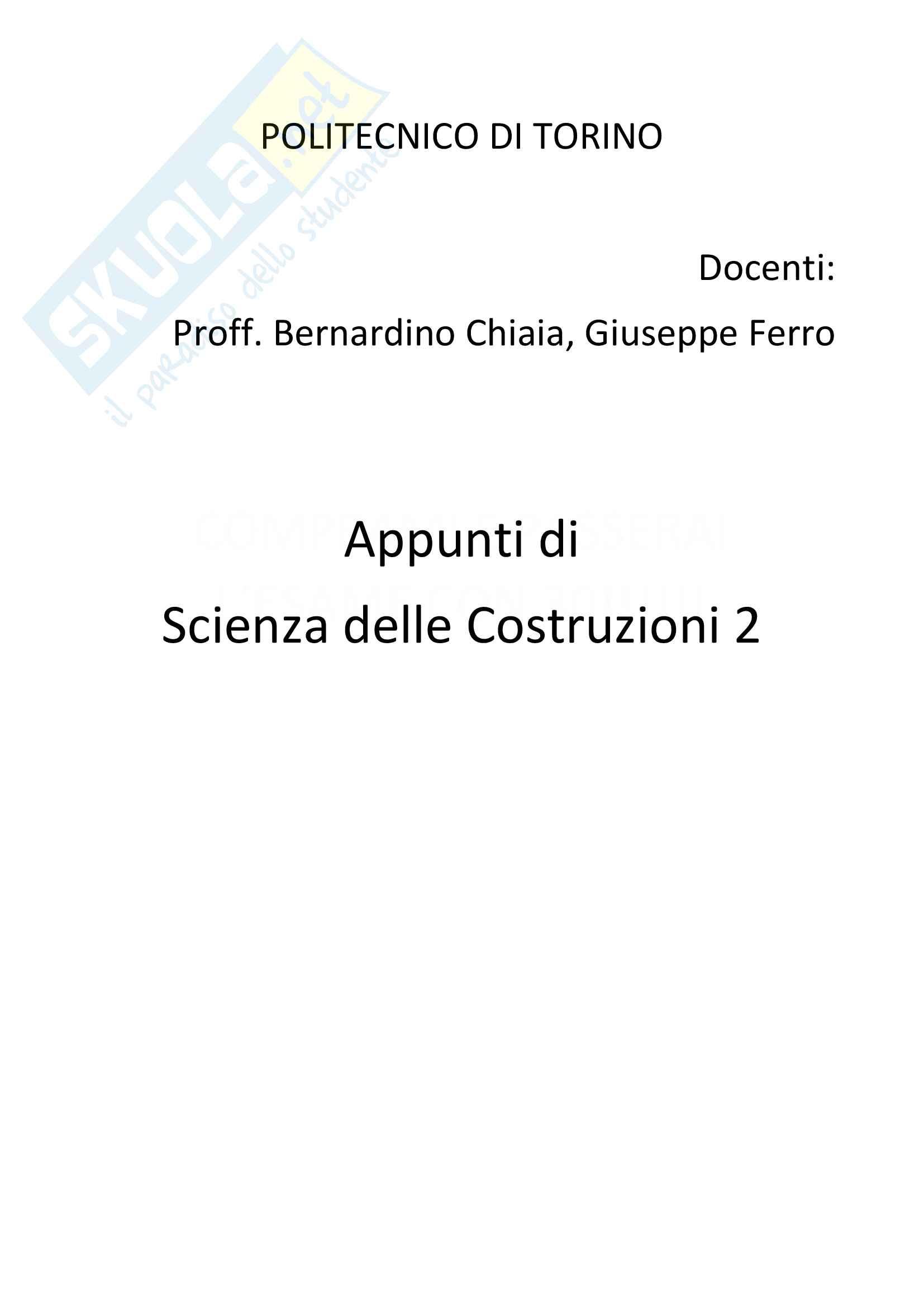 Lezioni e appunti di Scienza delle Costruzioni 2