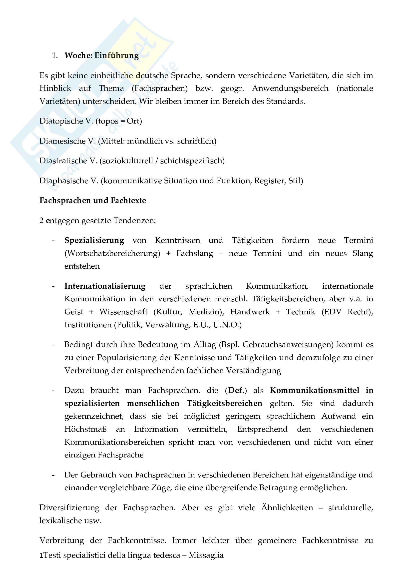 Testi specialistici della lingua tedesca