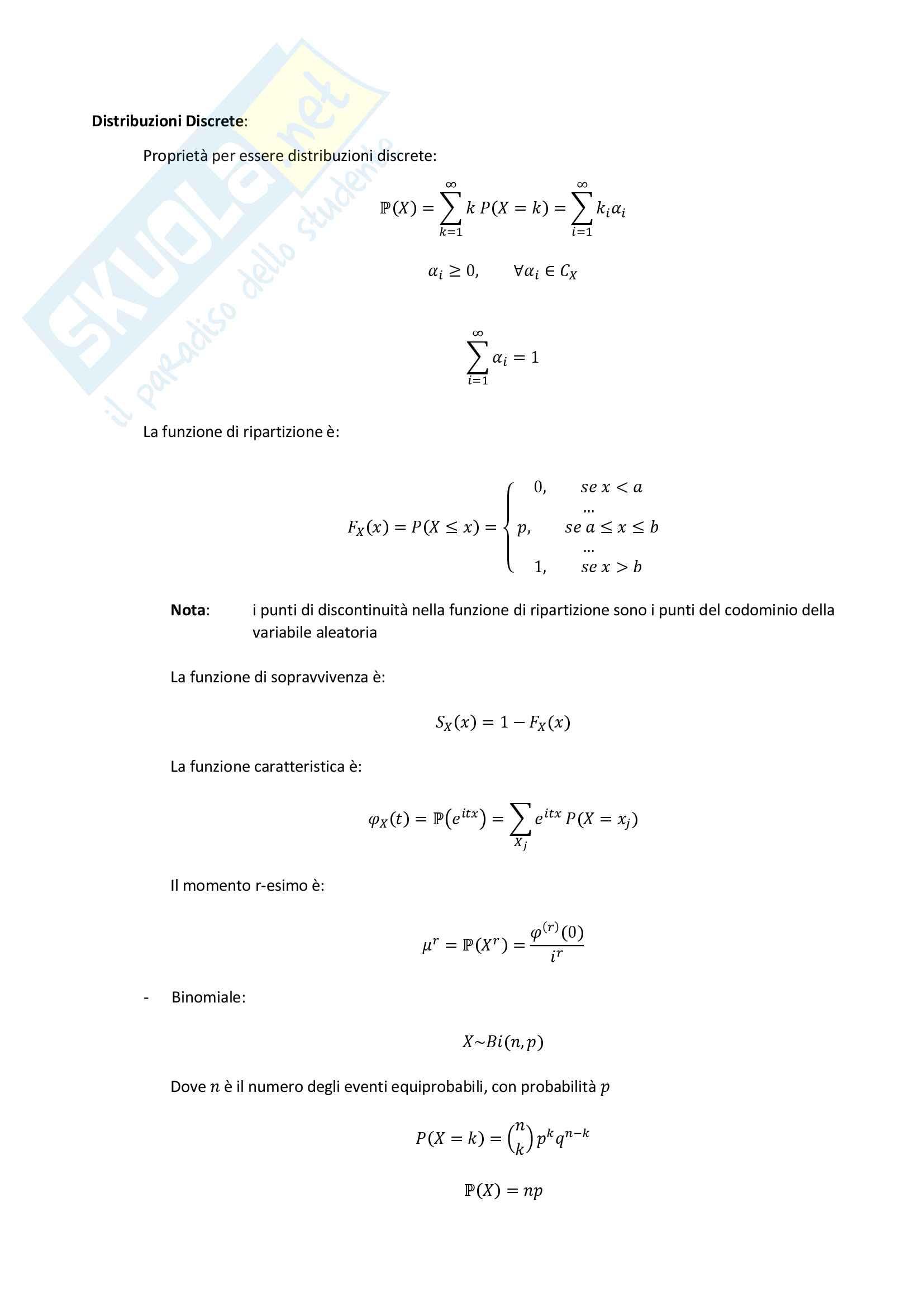 Probabilità - Distribuzioni, Rette di Regressione, Vettore Aleatorio