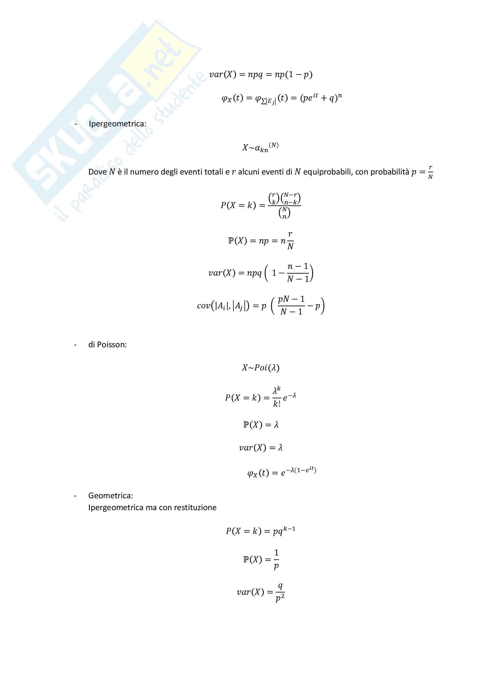 Probabilità - Distribuzioni, Rette di Regressione, Vettore Aleatorio Pag. 2