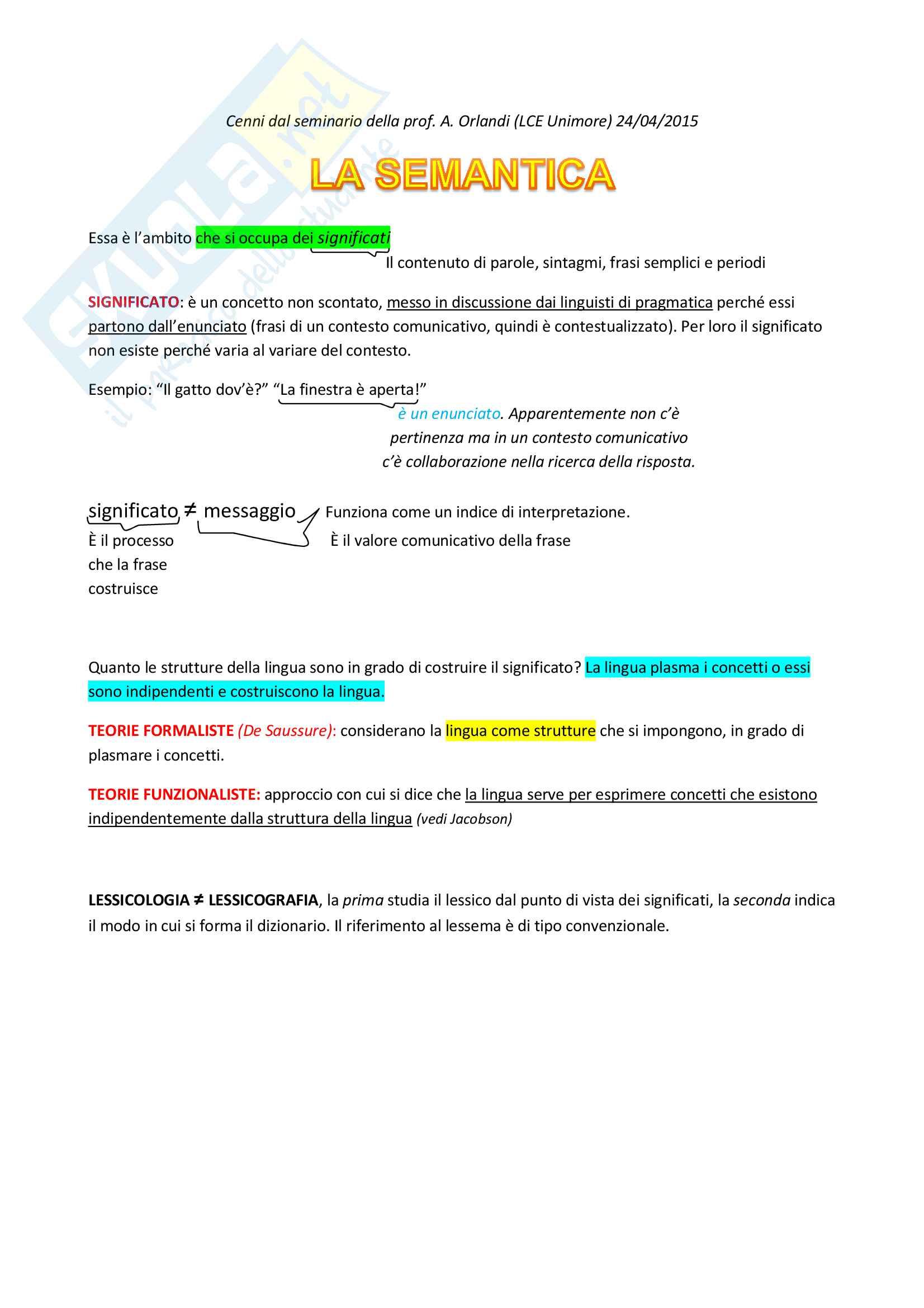 Cenni di semantica e sociolinguistica