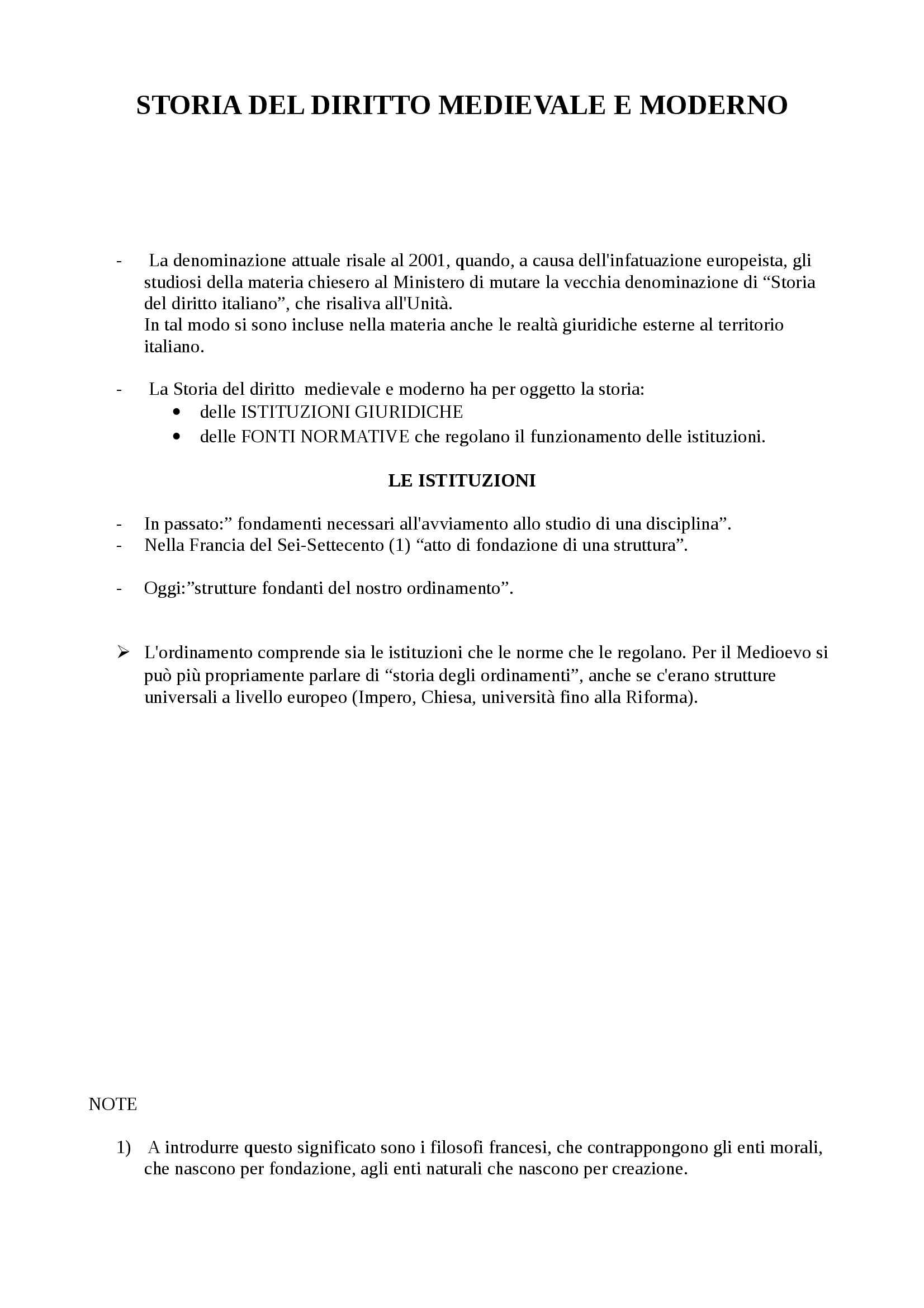 appunto P. Nardi Storia del diritto medievale  e moderno